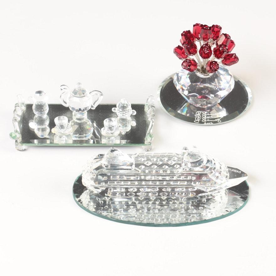 Swarovski Crystal Vase Of Roses Figurine With Other Crystal