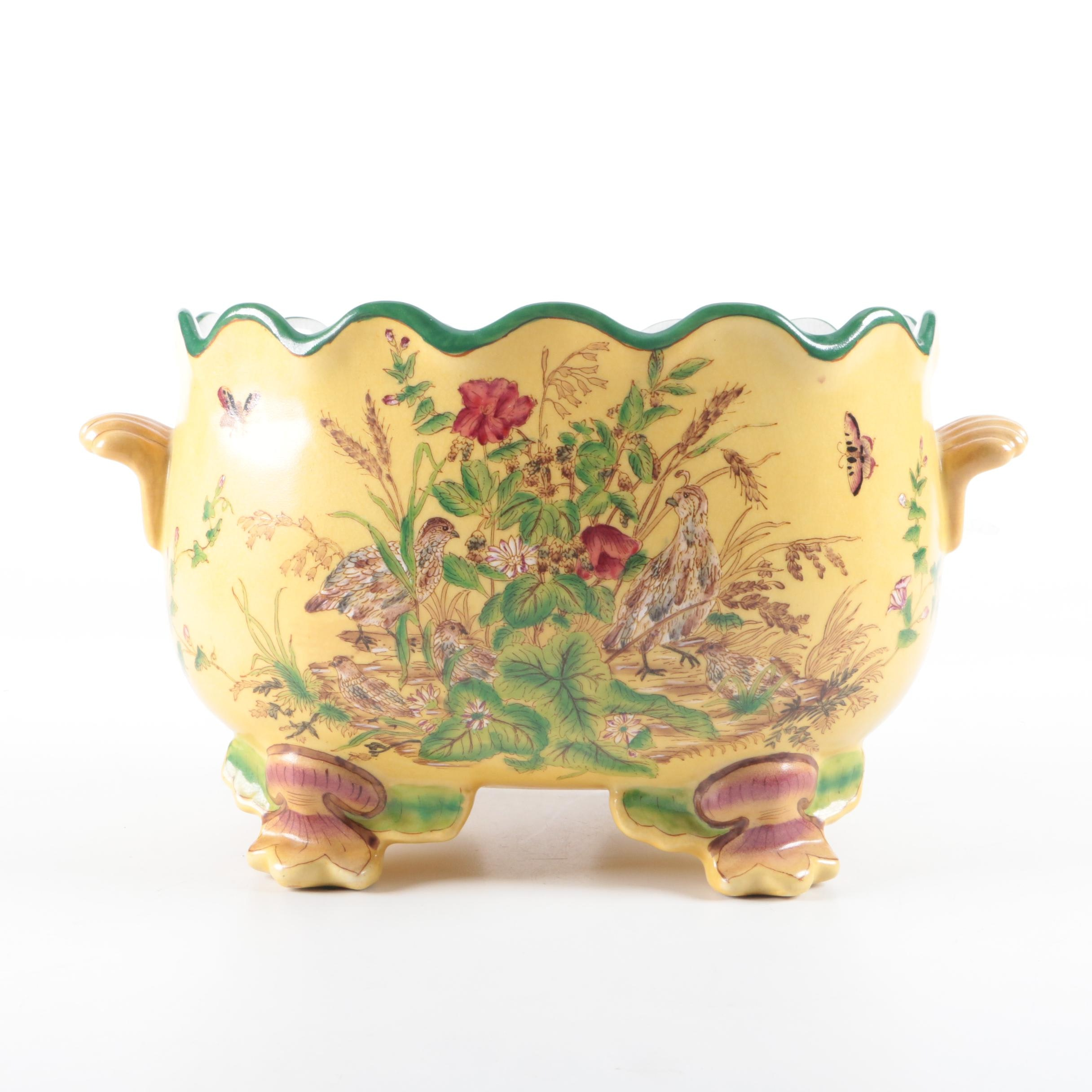 Chinese Hand-Painted Footed Ceramic Jardiniere
