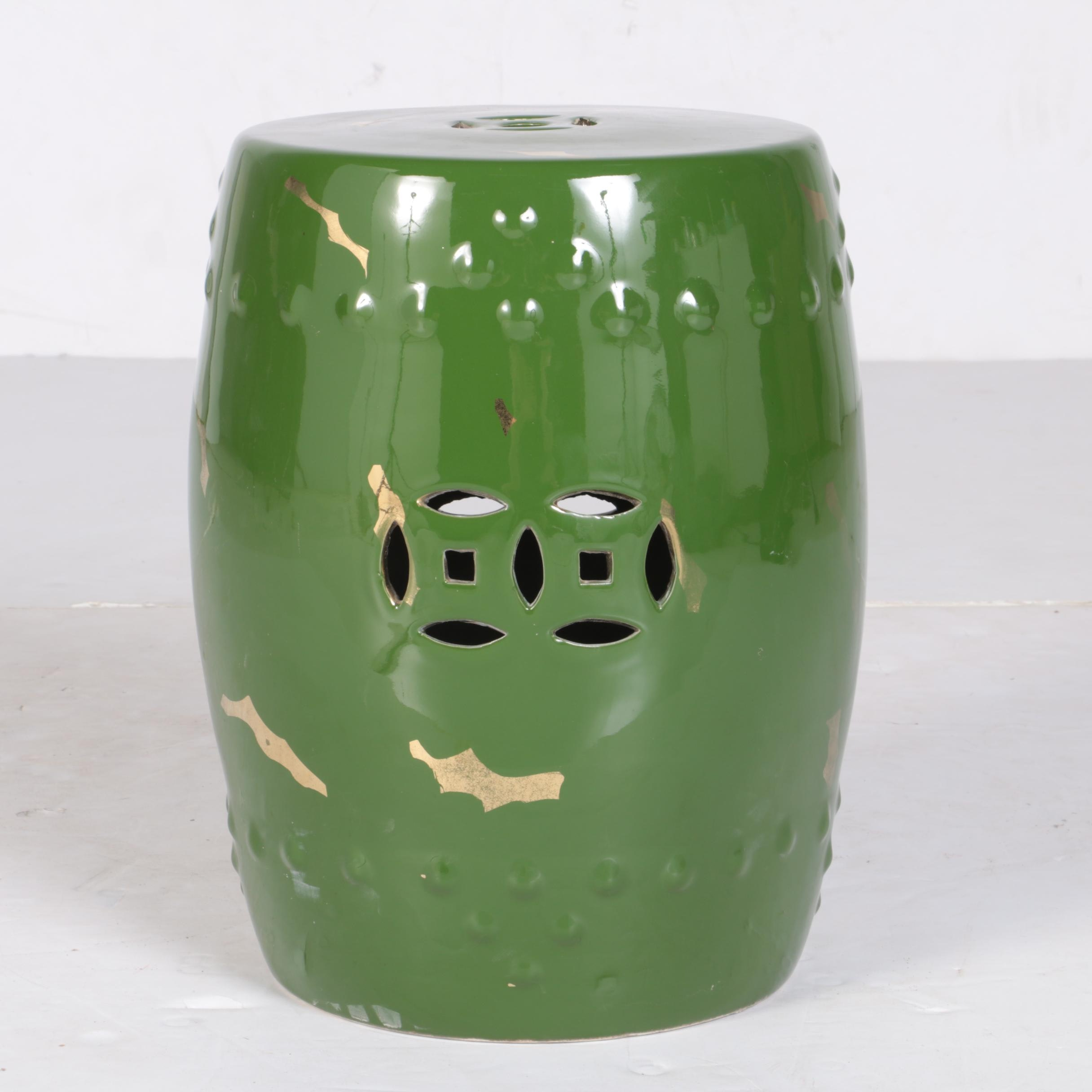 Exceptionnel Chinese Green Painted Ceramic Garden Stool ...