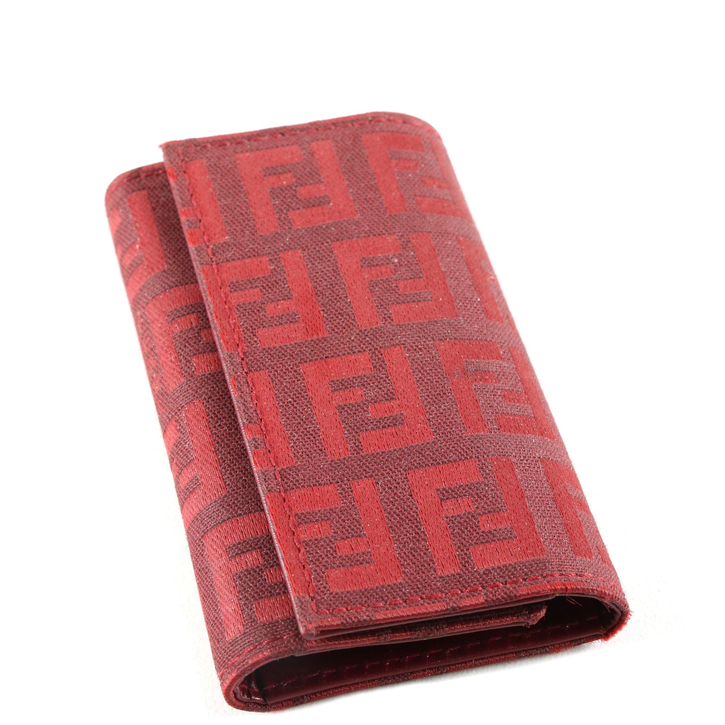 Fendi Red Zucca Canvas Key Case