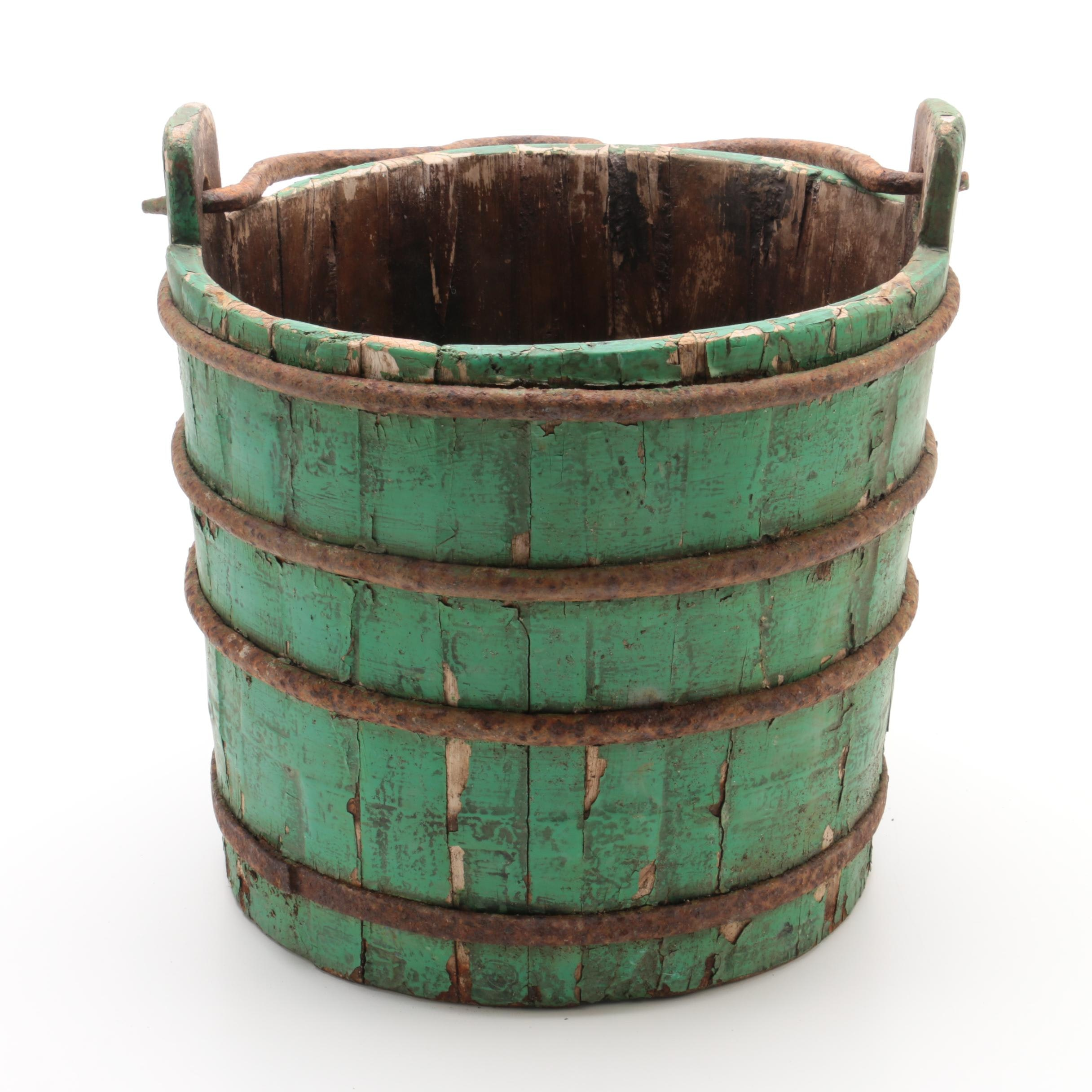 Semi-Antique Wooden Water Well Bucket