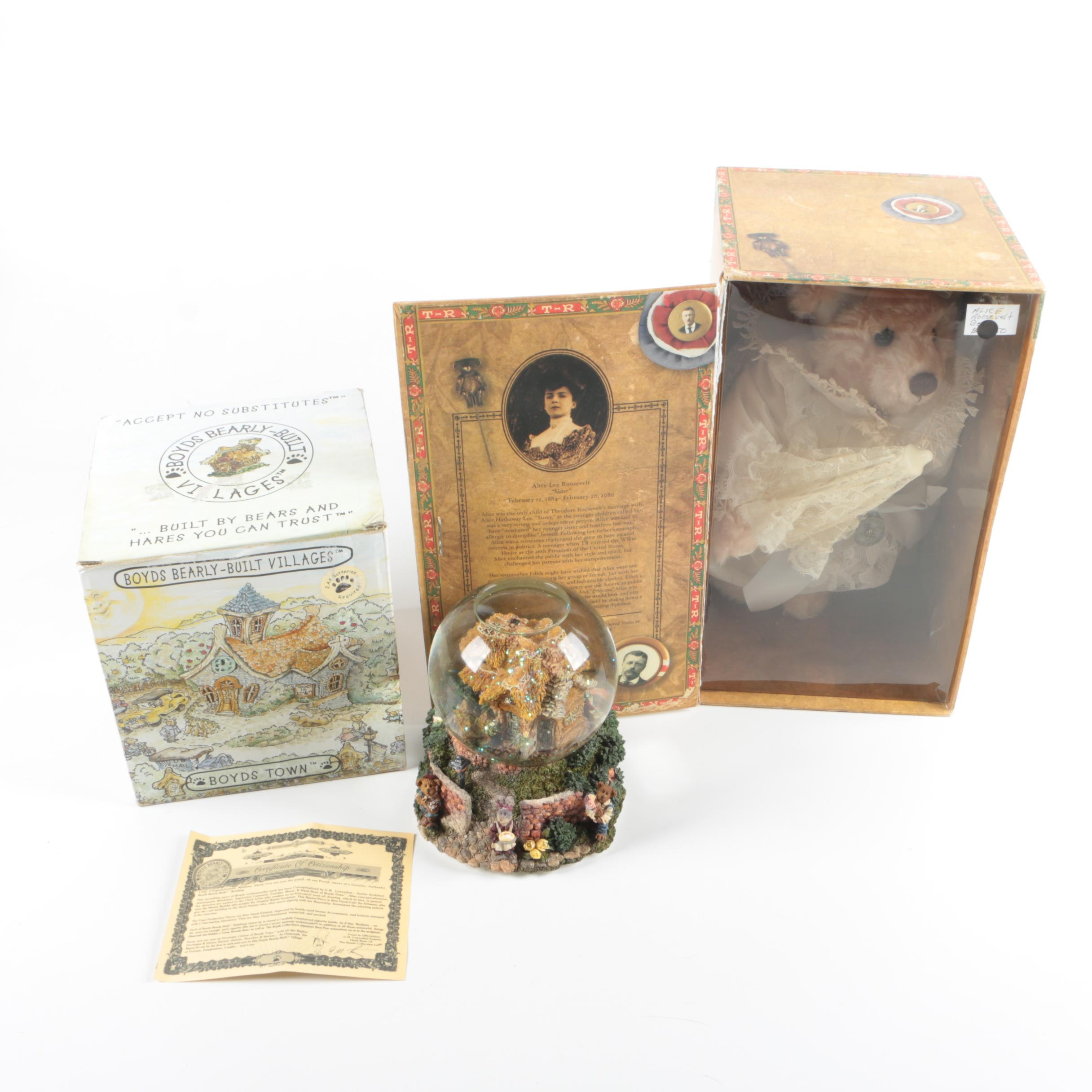 Boyds Bears Musical Snow Globe and Bears of Sagamore Hill Teddy Bear