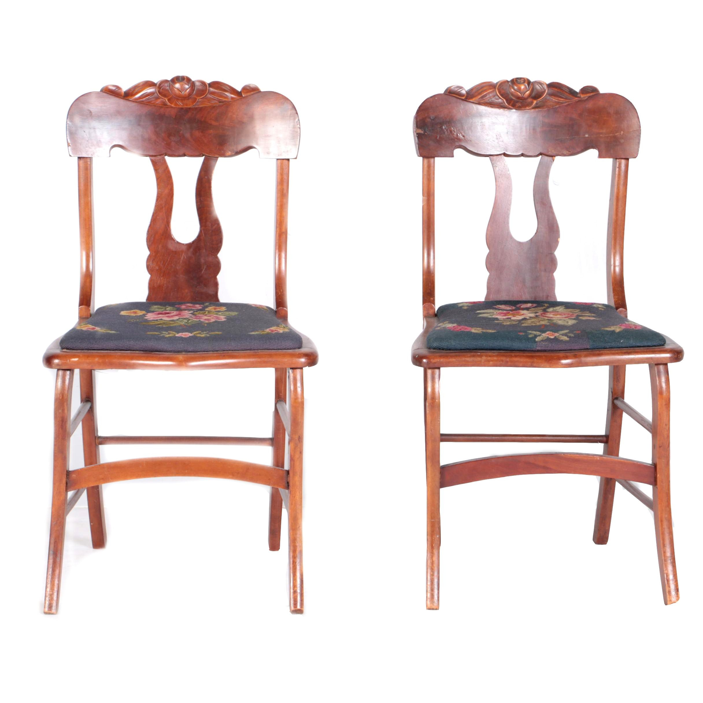 Antique Victorian Mahogany Side Chairs with Needlepoint Seat