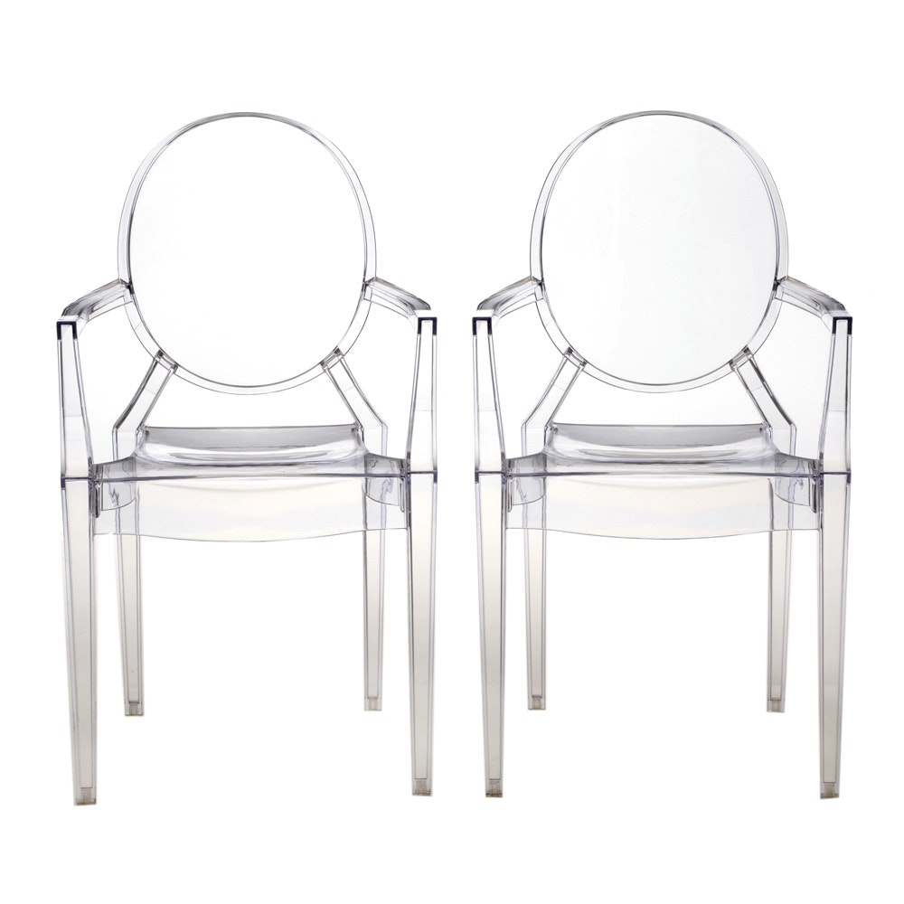 Pair of Mid Century Modern Style Louis Ghost Chairs