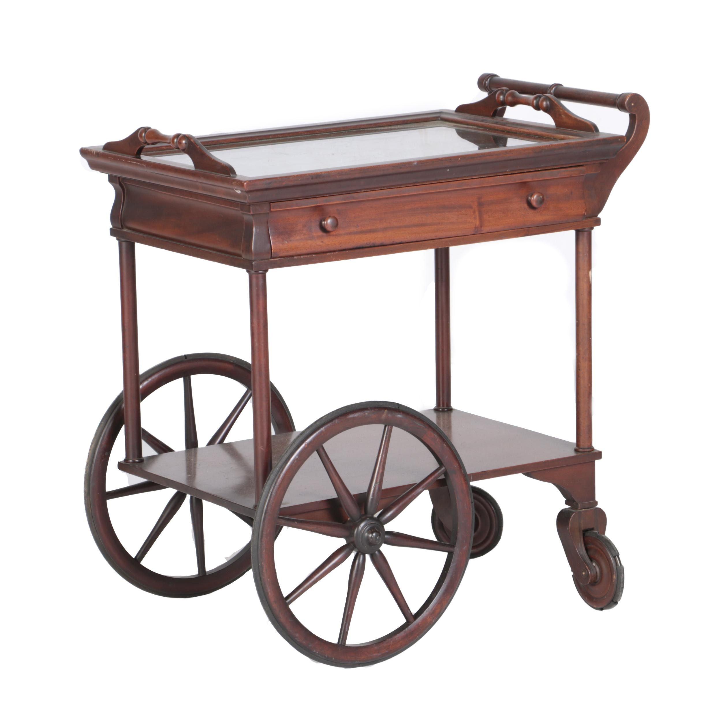 Contemporary Mahogany Tea Cart with Tray Top