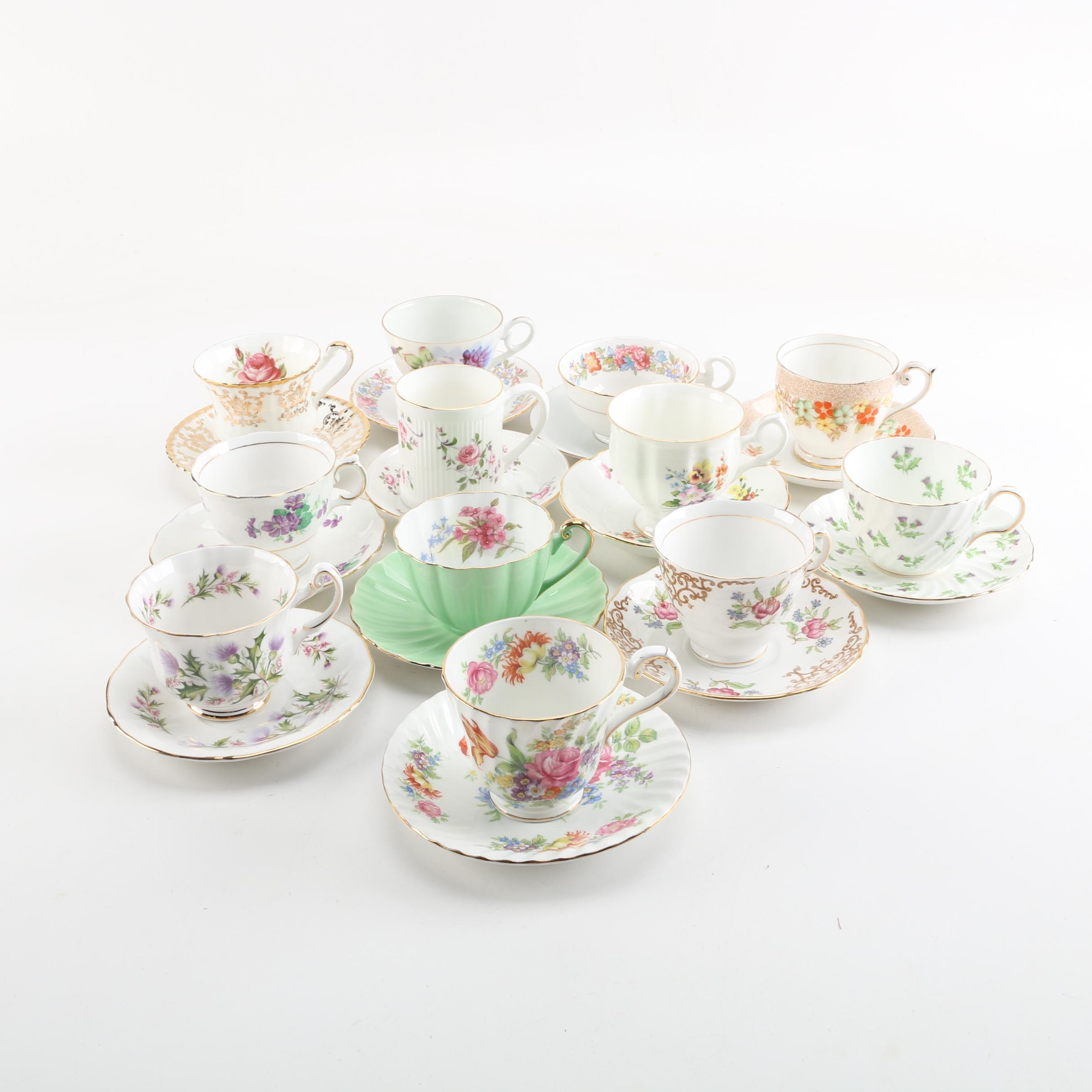 "Cups and Saucers Including Royal Adderly ""Lochinvar"""