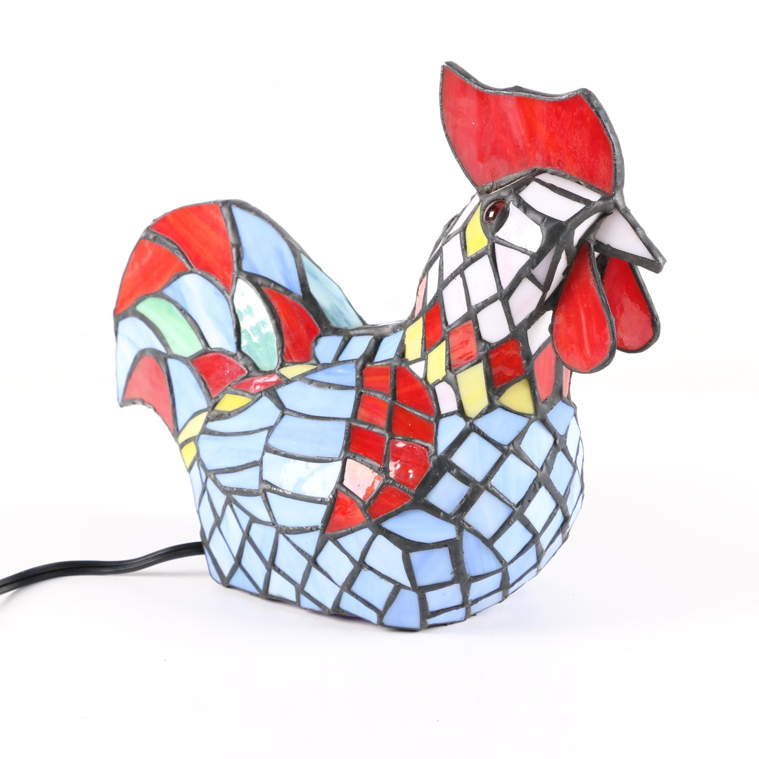 Leaded Slag Glass Rooster Accent Lamp