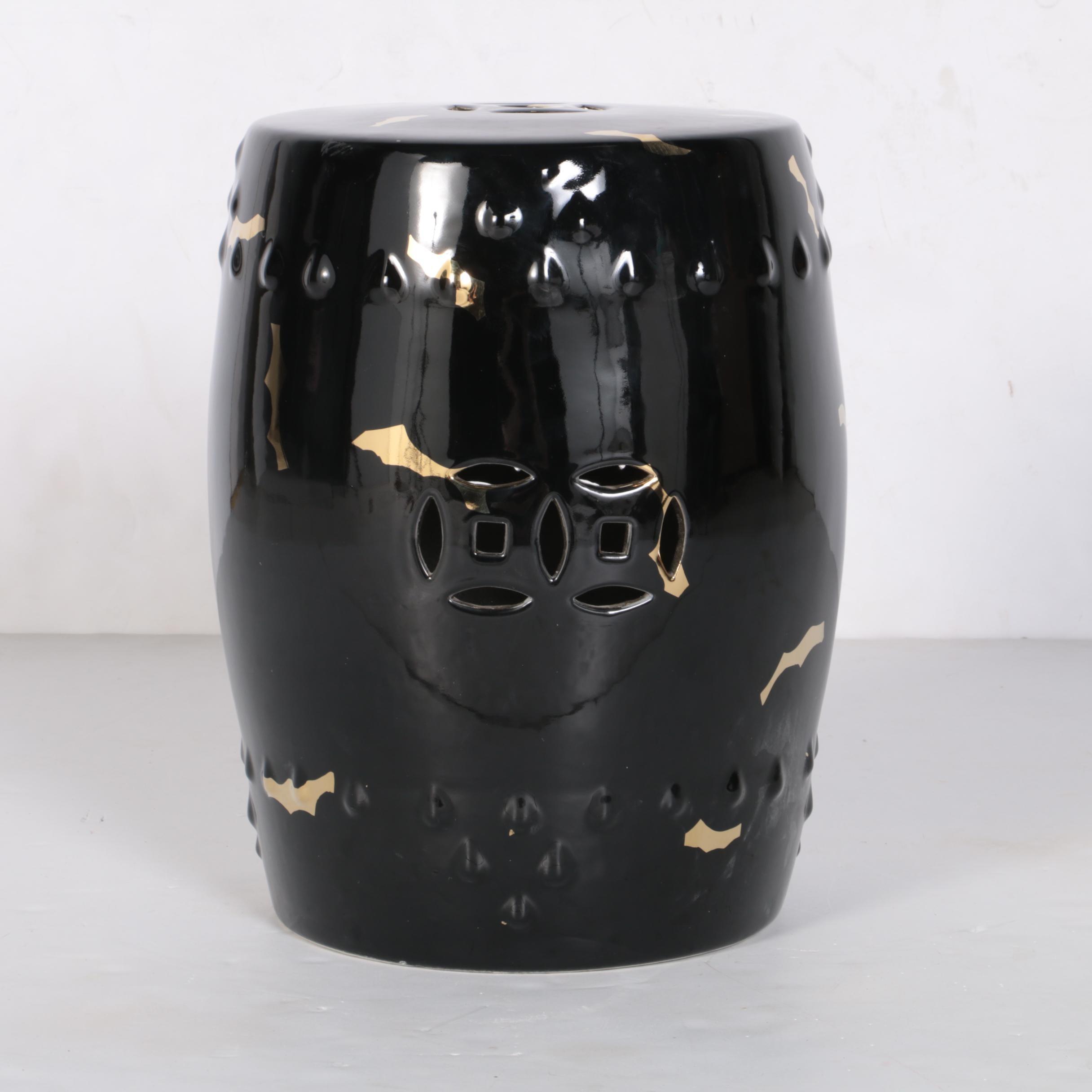Chinese Black Painted Ceramic Garden Stool
