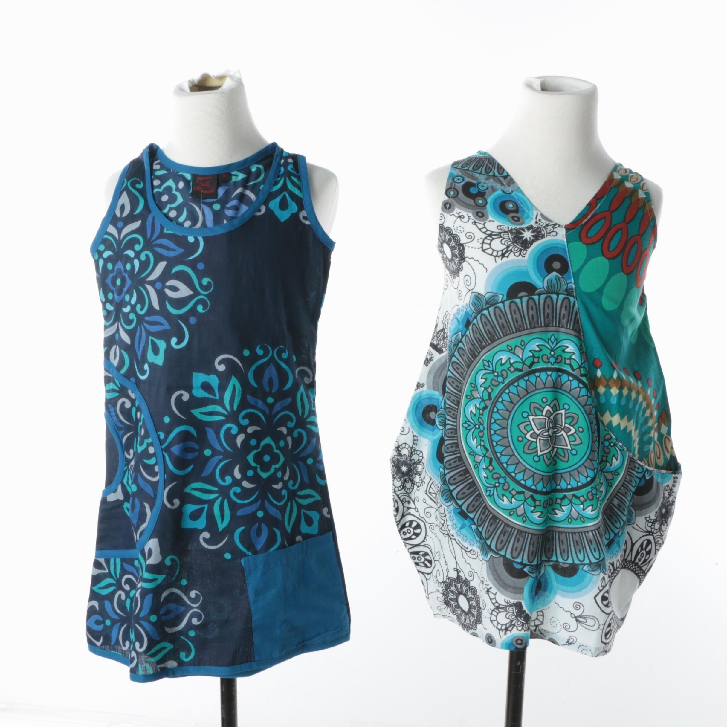 Girls' Aller Simplement Blue Sleeveless Dresses