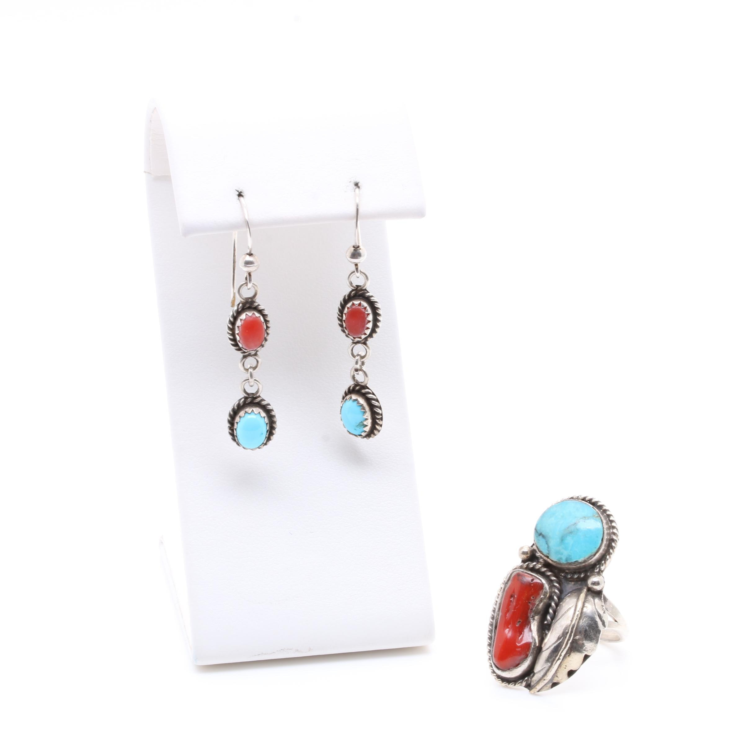 Southwestern Style Sterling Sterling Coral and Turquoise Ring and Earrings