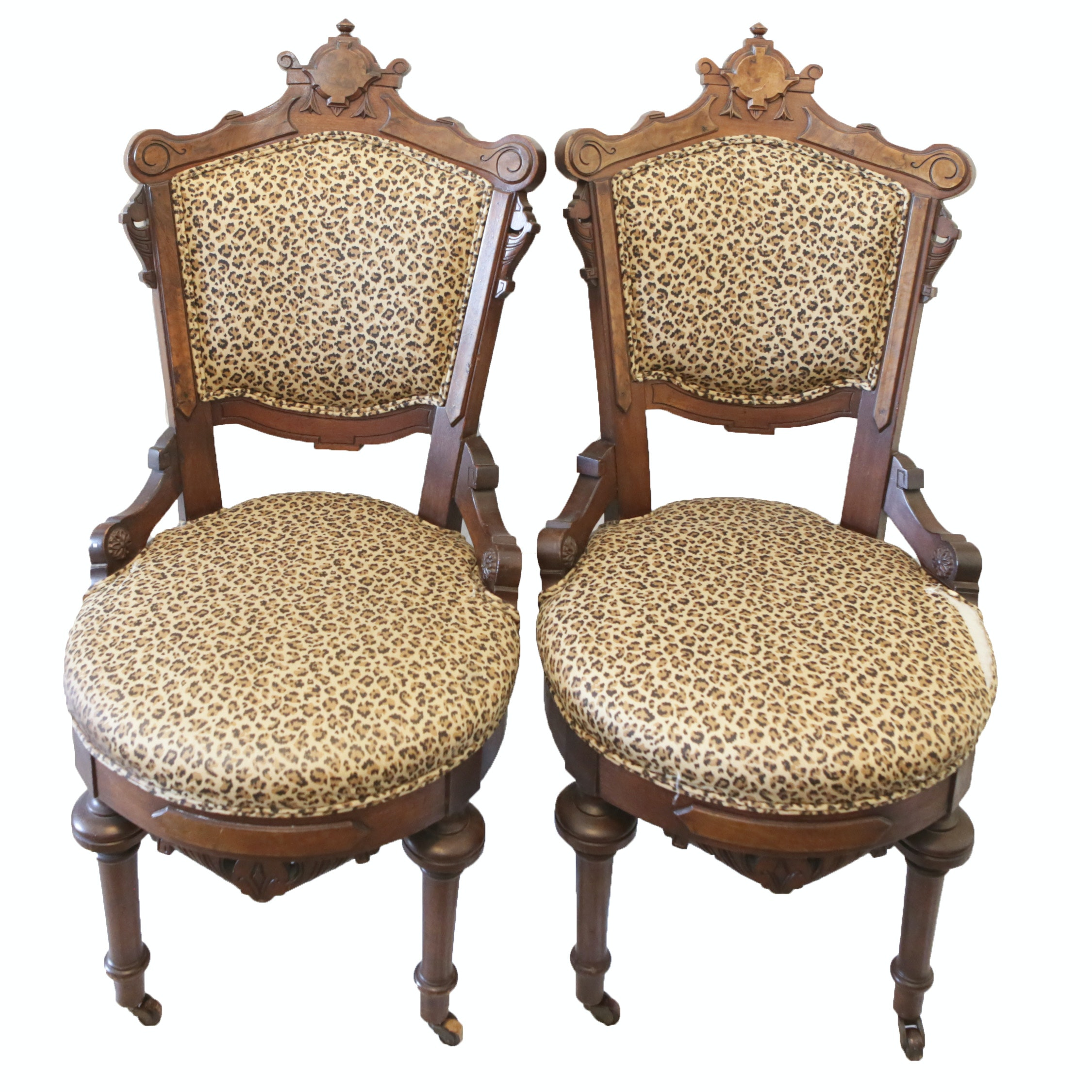 Vintage Eastlake Style Walnut Side Chairs