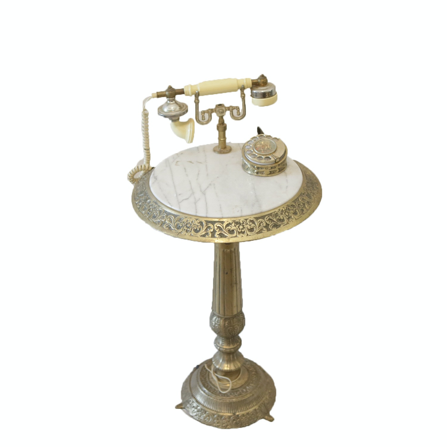 Hollywood Regency  Brass and Marble Pedestal Phone Stand