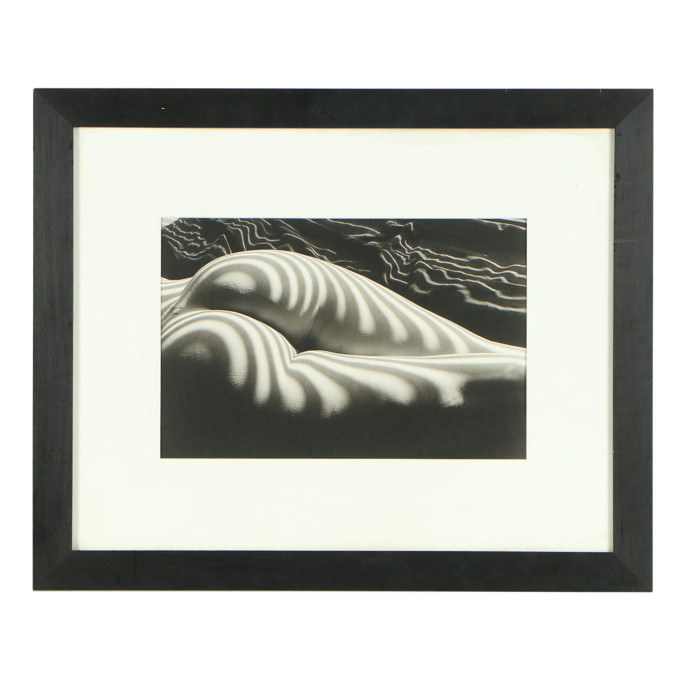"Lucien Clergue Gelatin-Silver Print ""Nu Zébré, New York"""