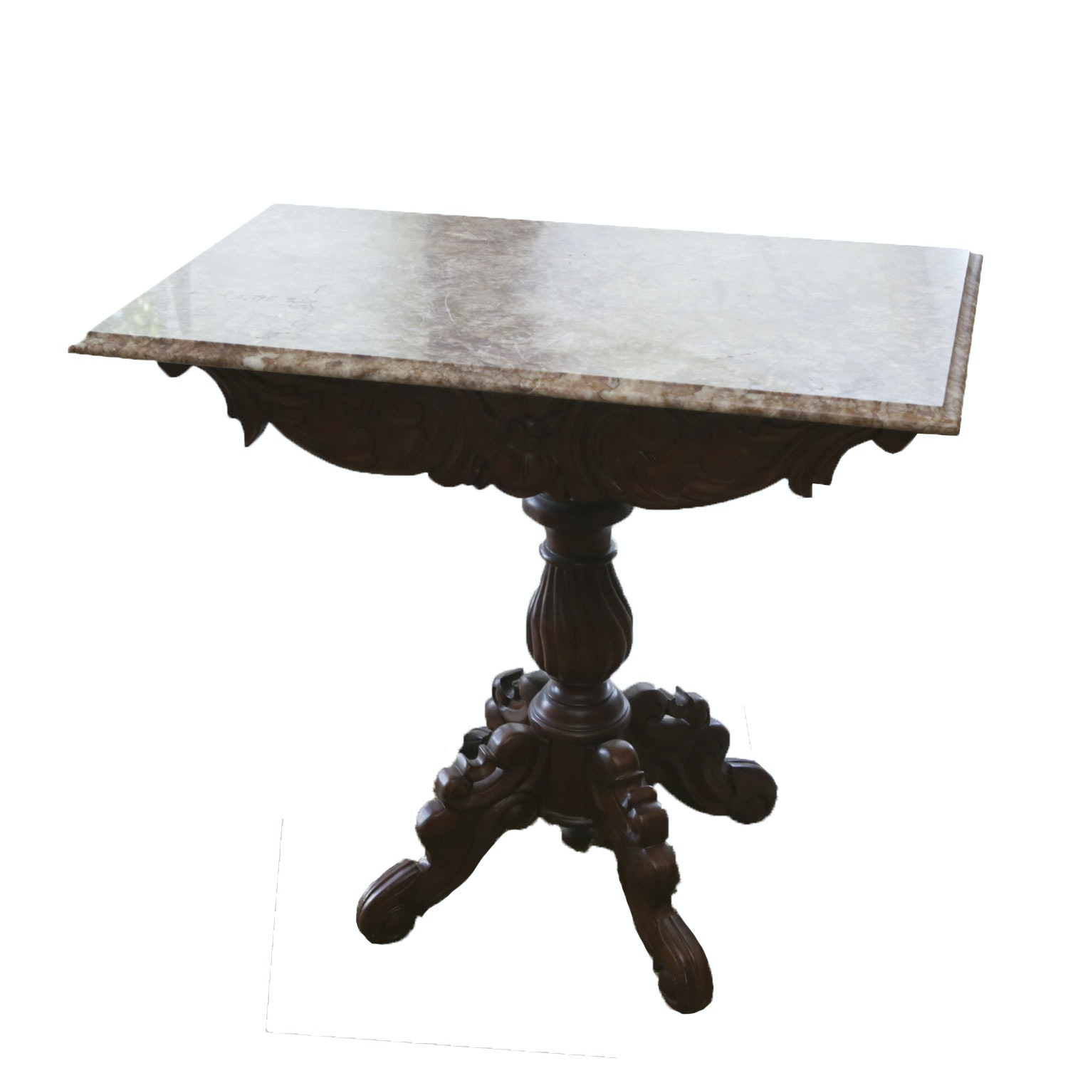 Stone Top Victorian Style Accent Table