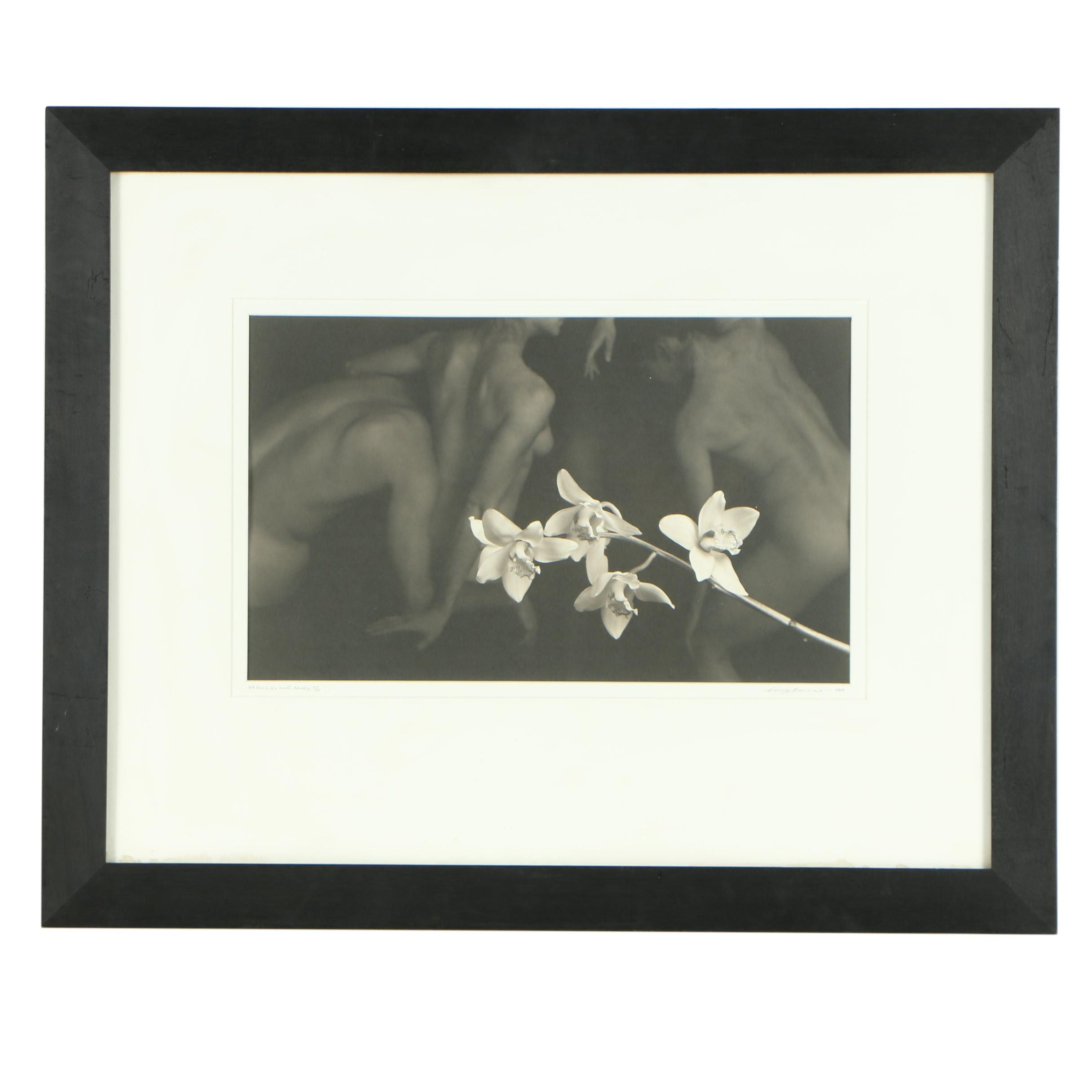"""V. Tony Hauser Silver Gelatin Print """"Six Orchids with Nudes"""""""