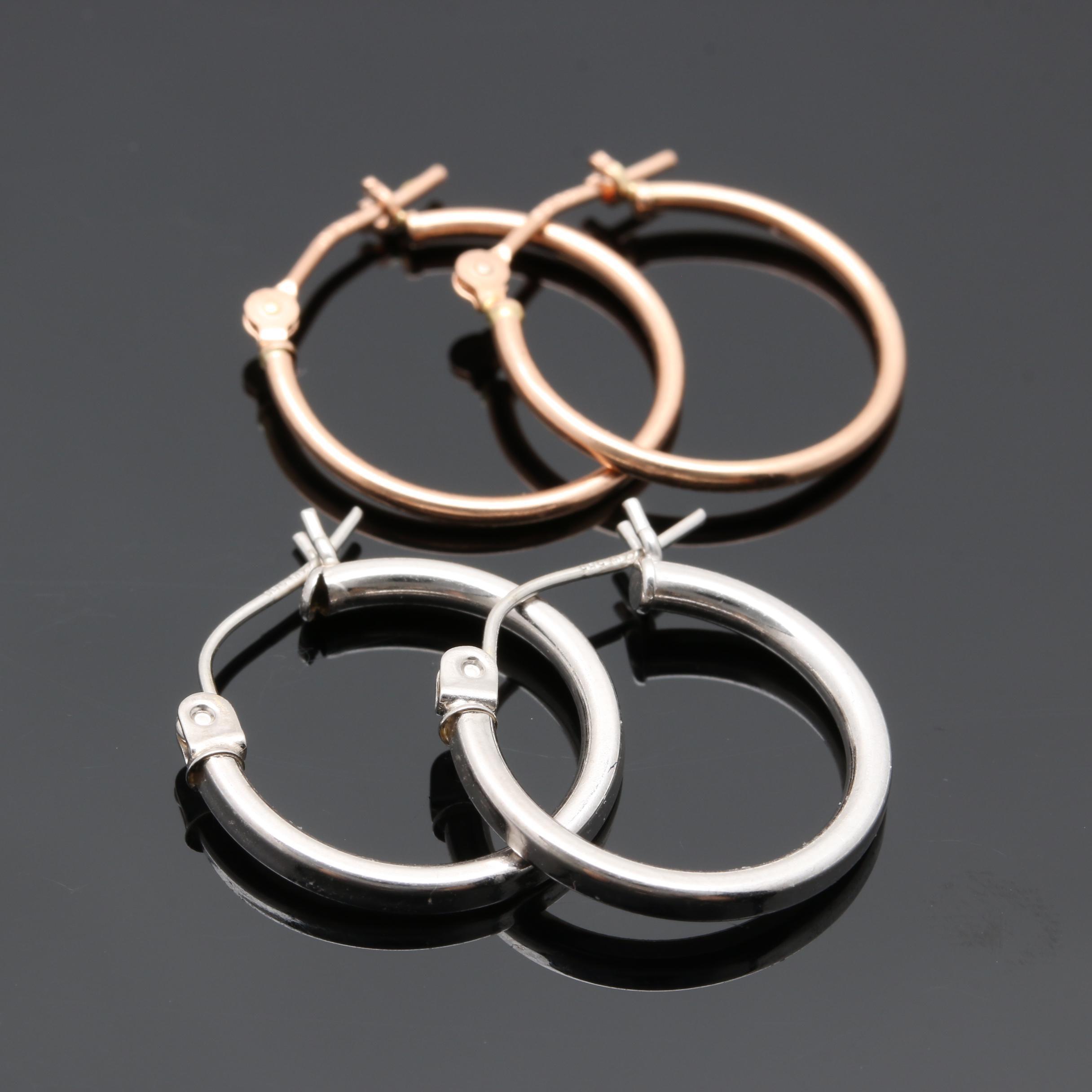 14K White and Rose Gold Hoop Earrings
