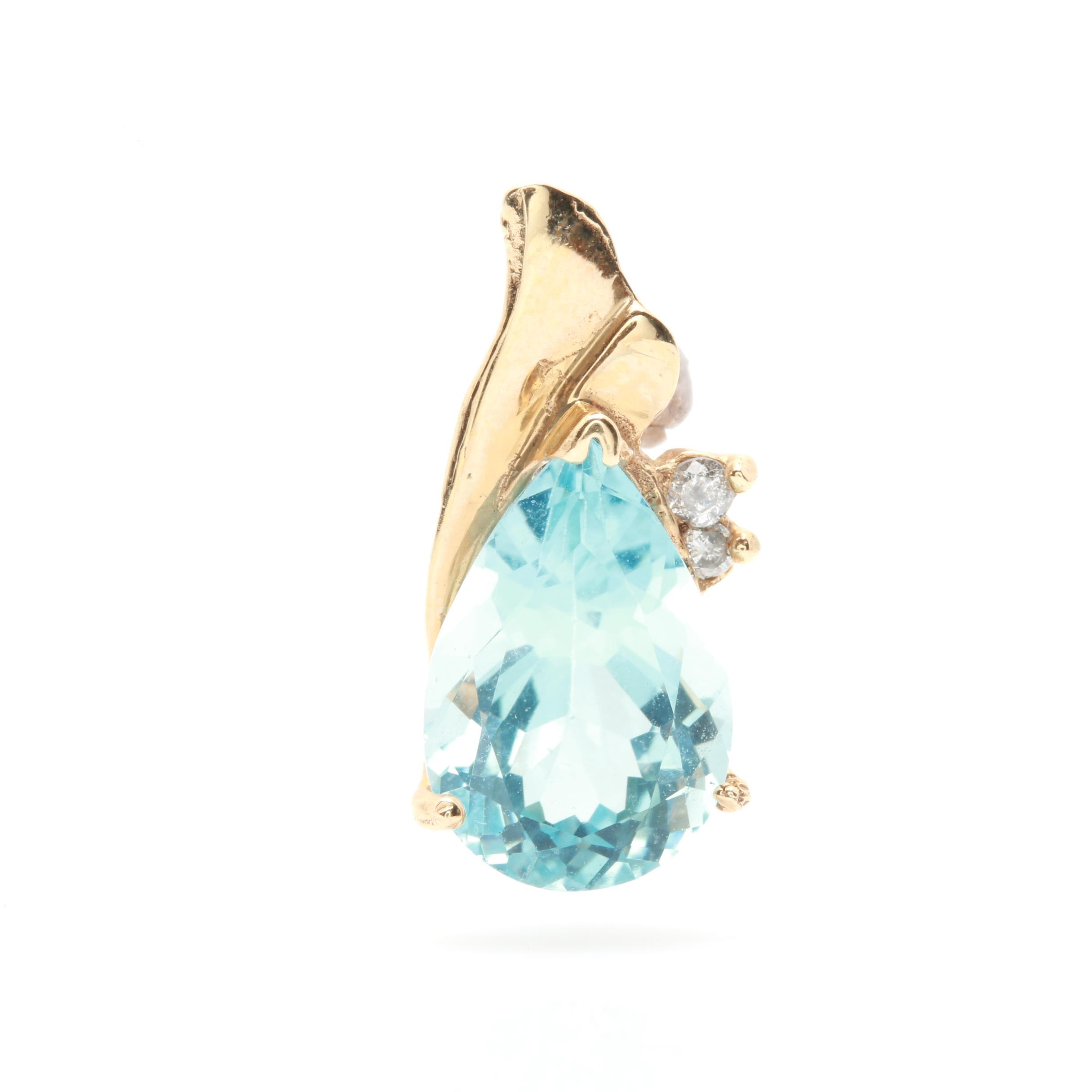14K Yellow Gold Blue Topaz and Diamond Slide Pendant
