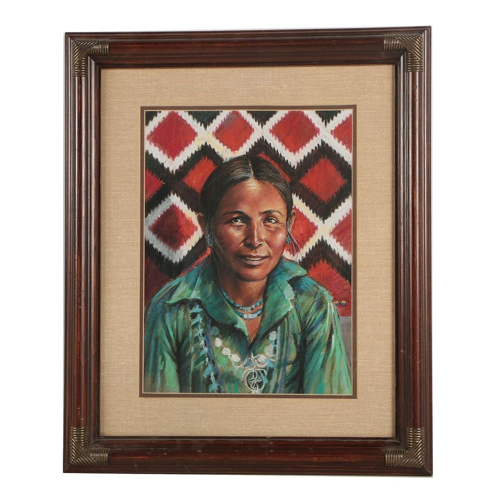 "Budd Sherrick Oil Pastel Drawing ""Woman with Blanket"""