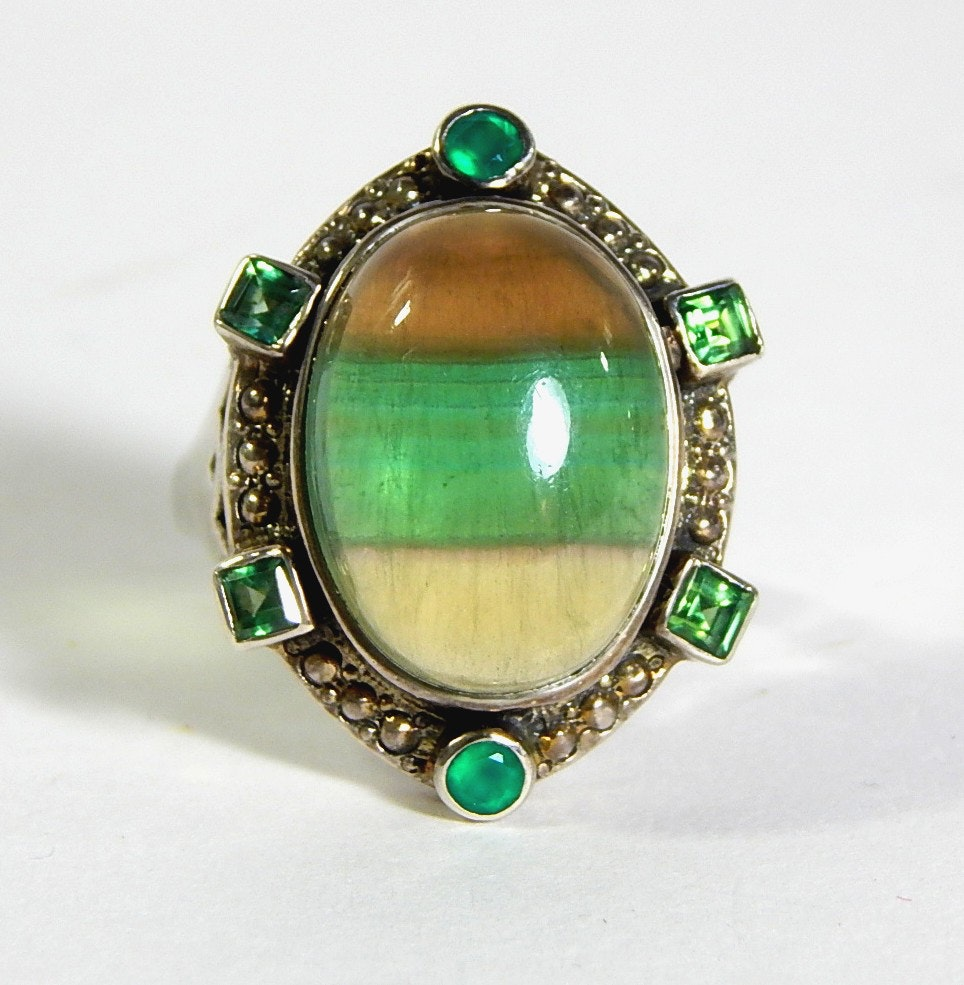 Sterling Silver Ring with Brown, Green, and Tan Striped Glass Stone.