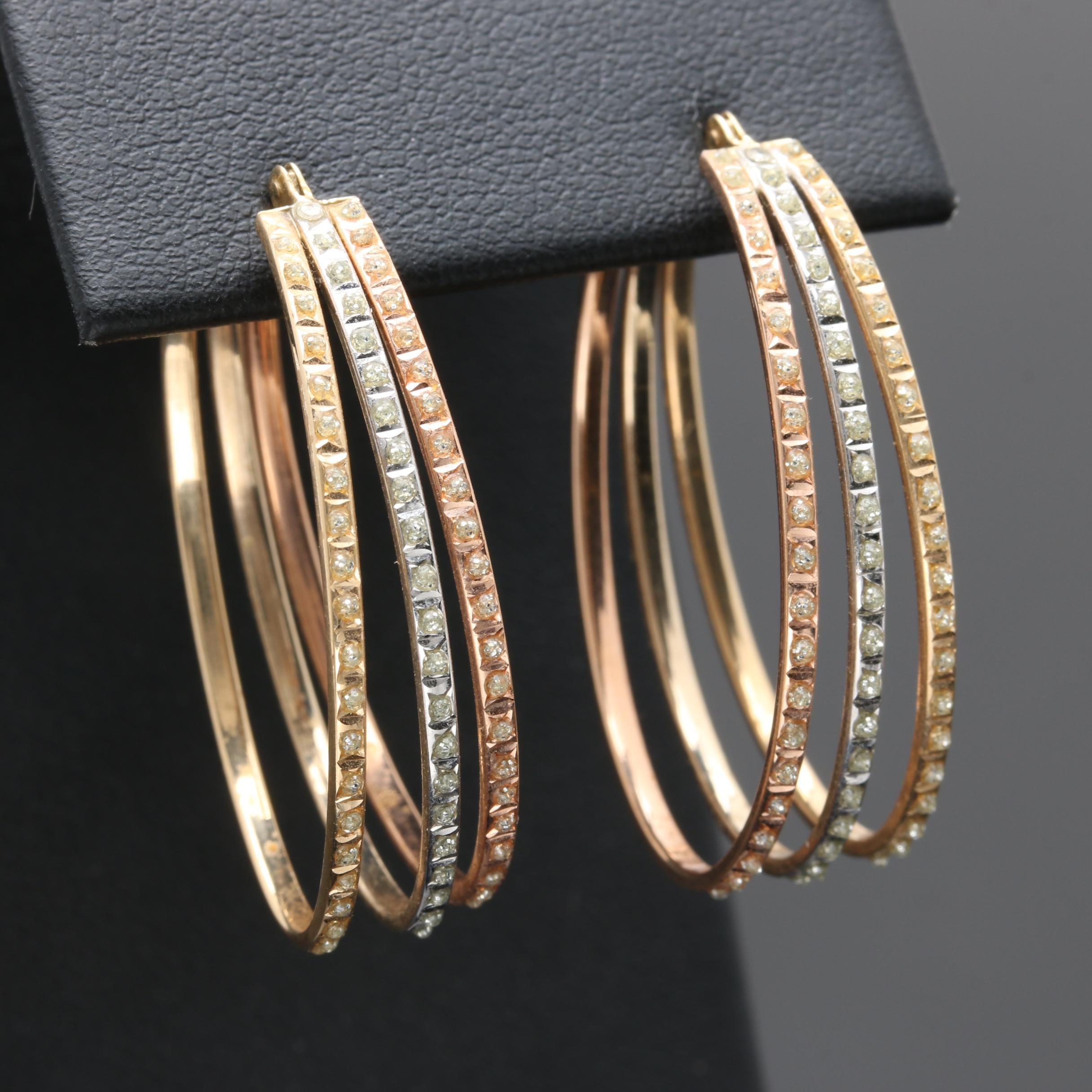 14K Tri Color Gold Oval Hoop Earrings With Glitter Accents