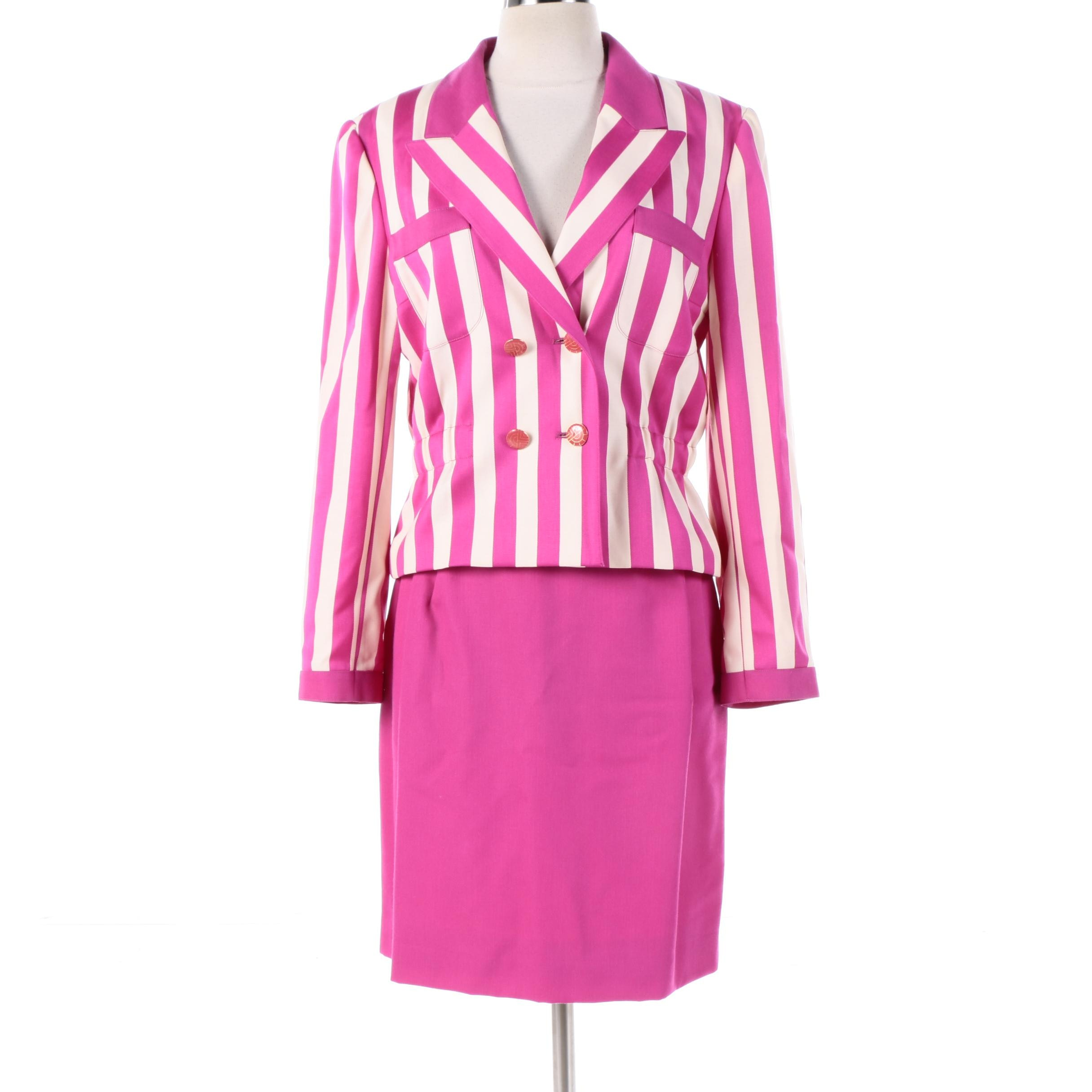 Louis Féraud Fuchsia and White Double-Breasted Skirt Suit