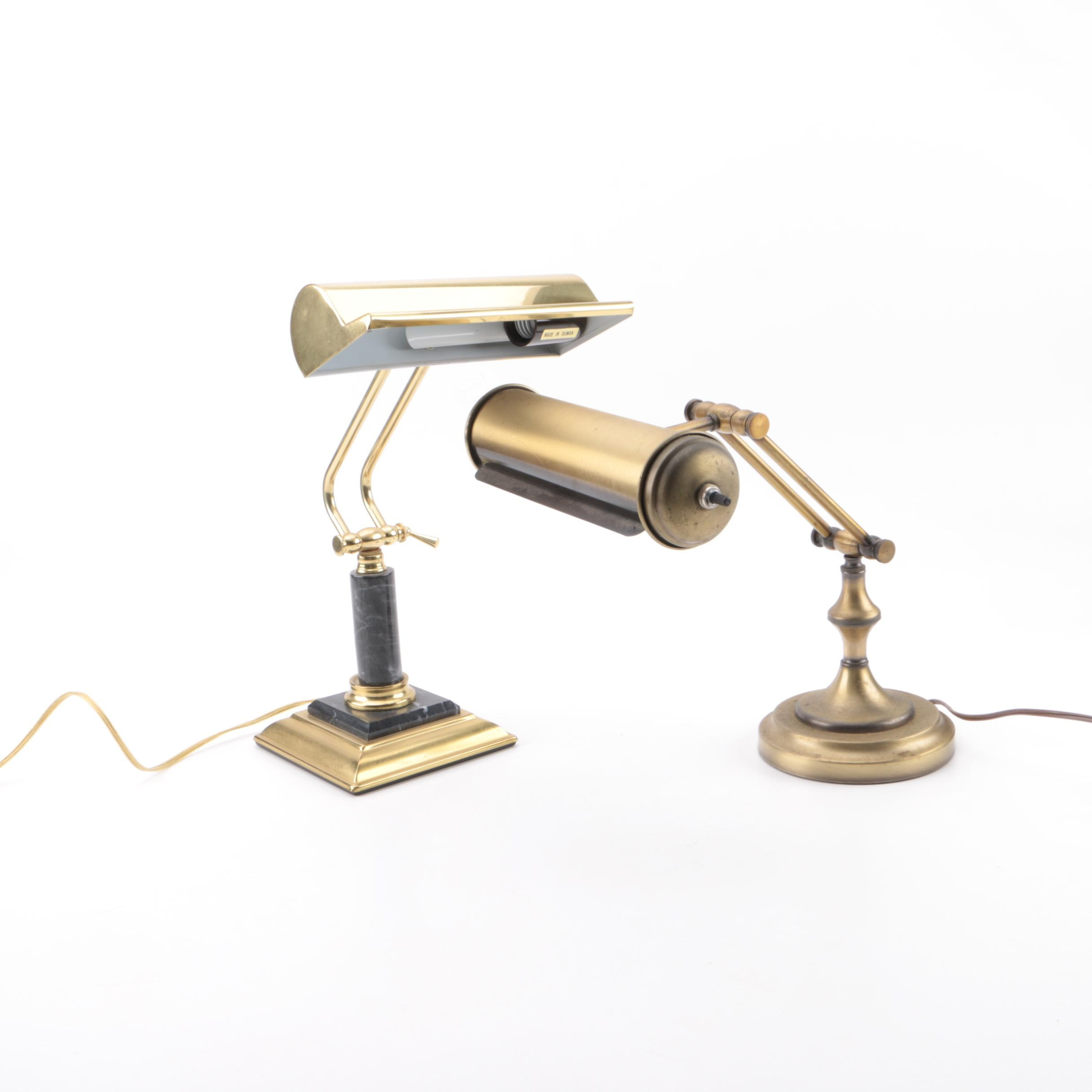 Brass Toned Piano Lamps