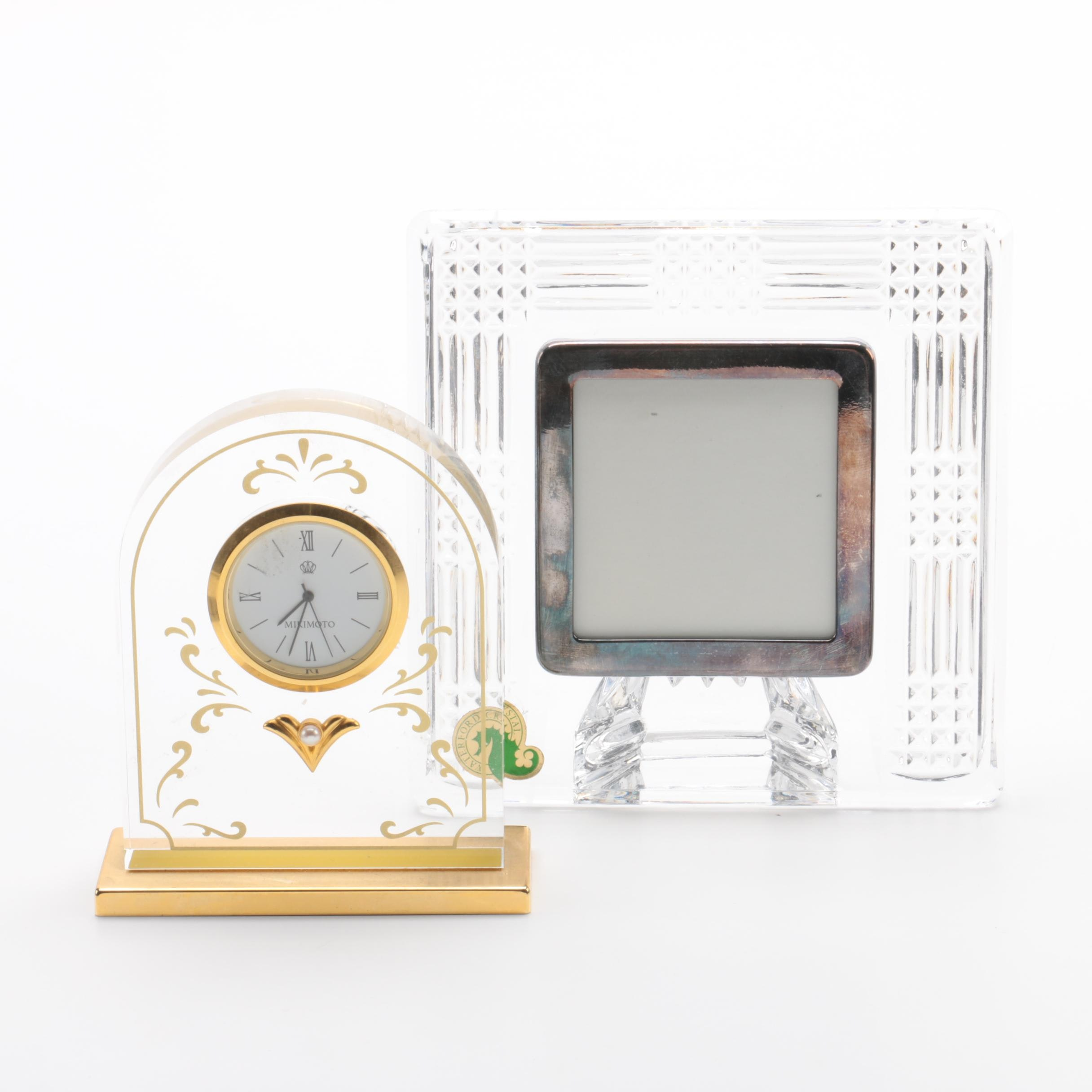 Waterford Crystal Frame with Mikimoto Glass and Gilt Mantel Clock