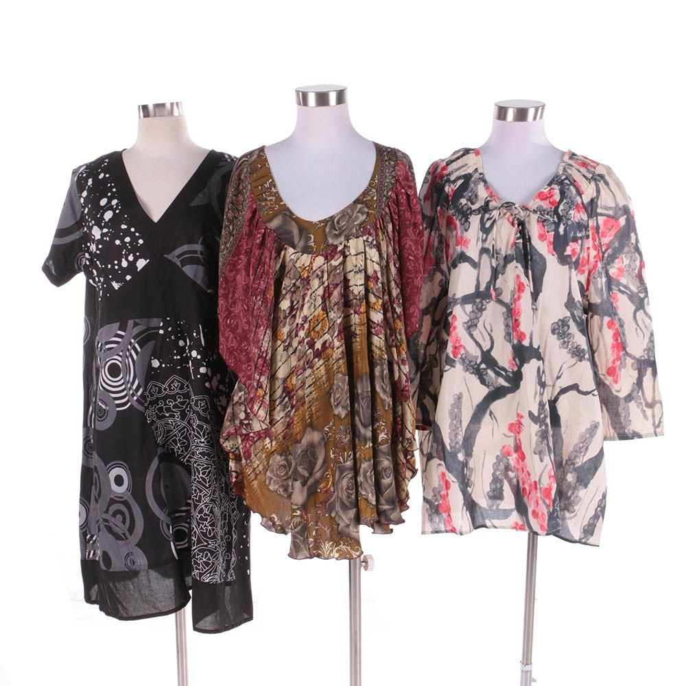 Women's Aller Simplement Tops and Dress Including Upcycled Vintage Sari Material