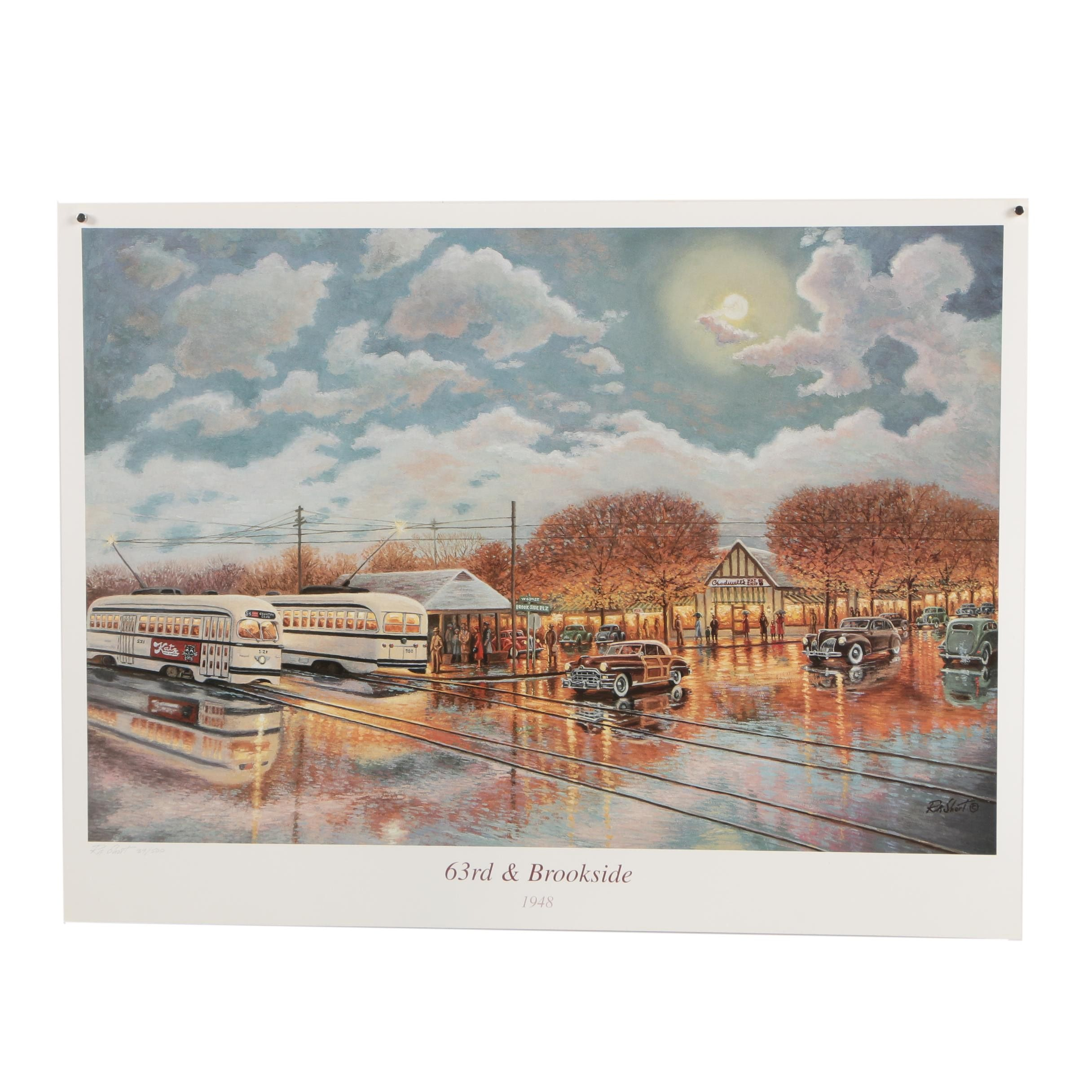 "R.A. Short Limited Edition Offset Lithograph Print ""63rd & Brookside 1948"""