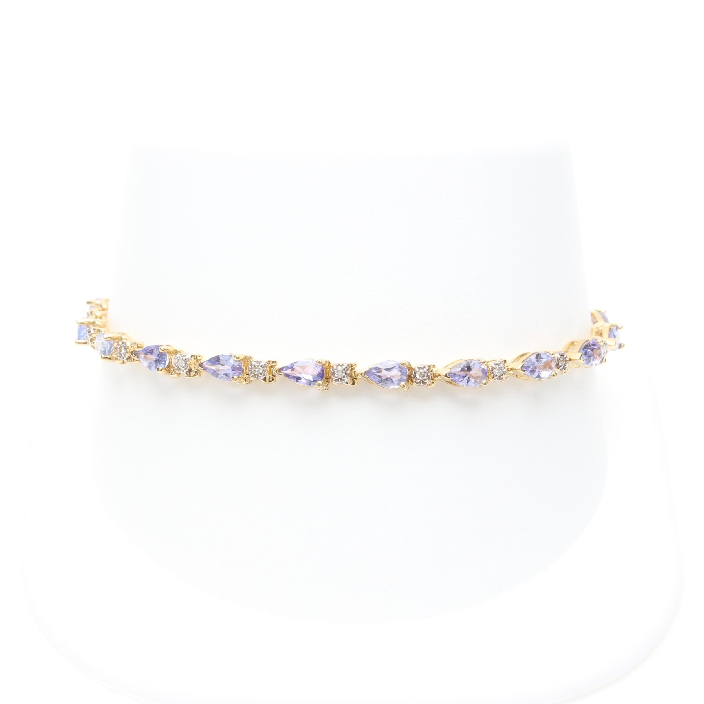 14K Yellow Gold Tanzanite and Diamond Bracelet