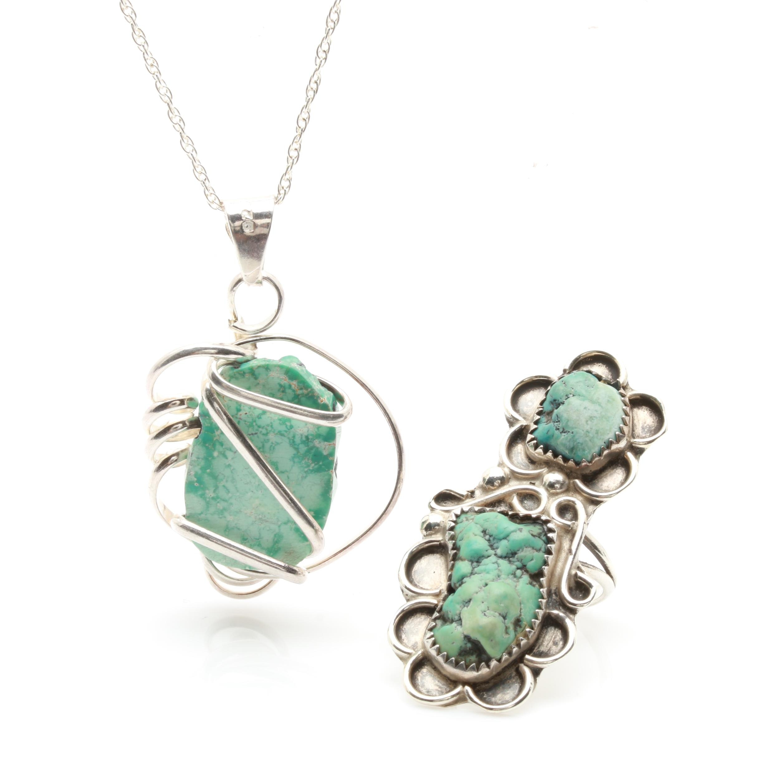 Southwestern Style Sterling Silver Magnesite and Turquoise Jewelry