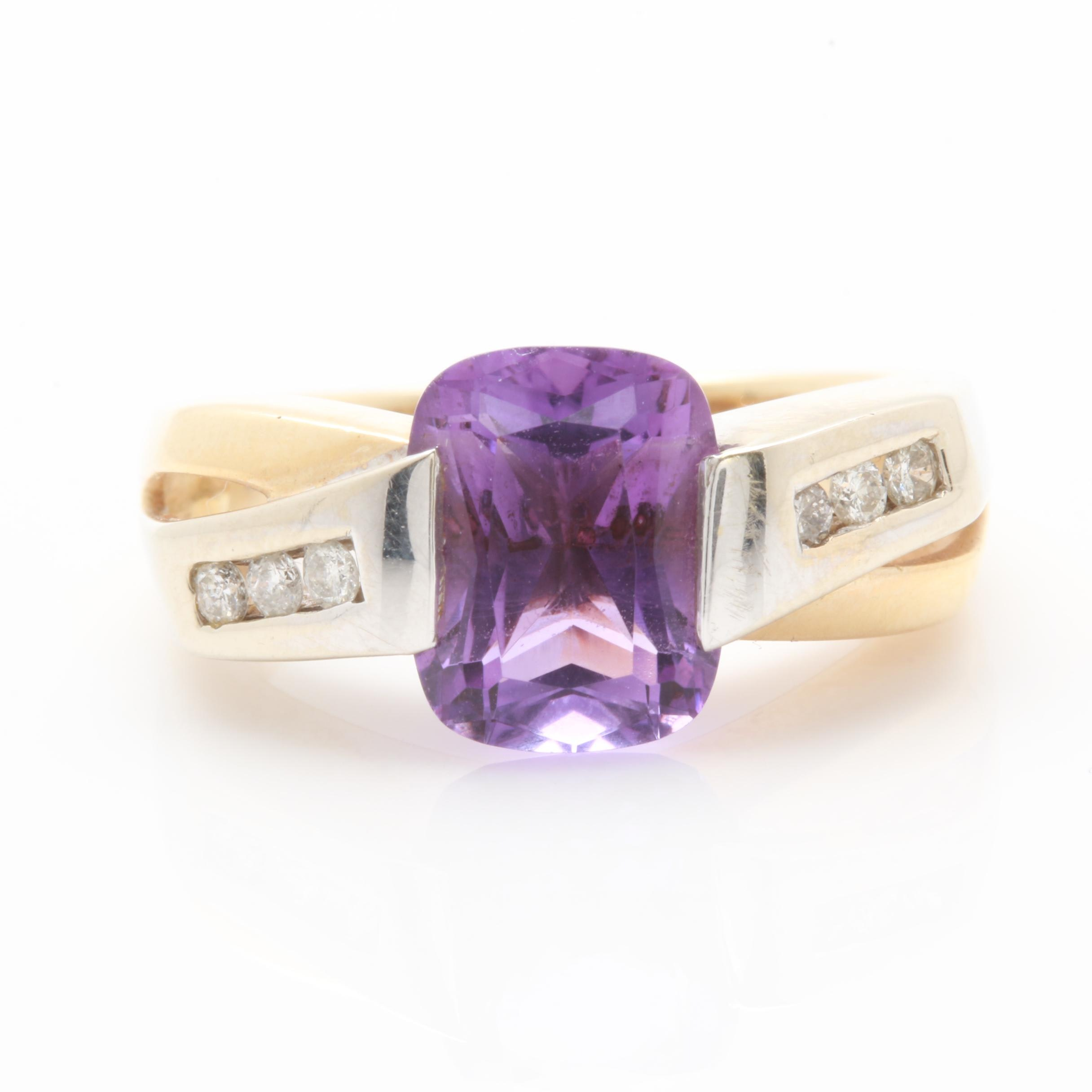 14K Yellow Gold Amethyst and Diamond Ring with 14K White Gold Accents