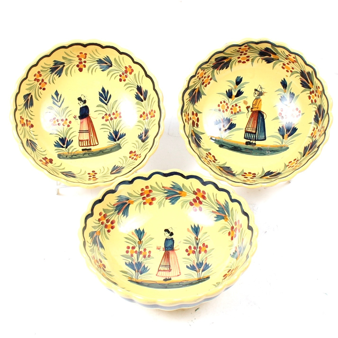 Three Vintage Henriot Quimper Scalloped Bowls