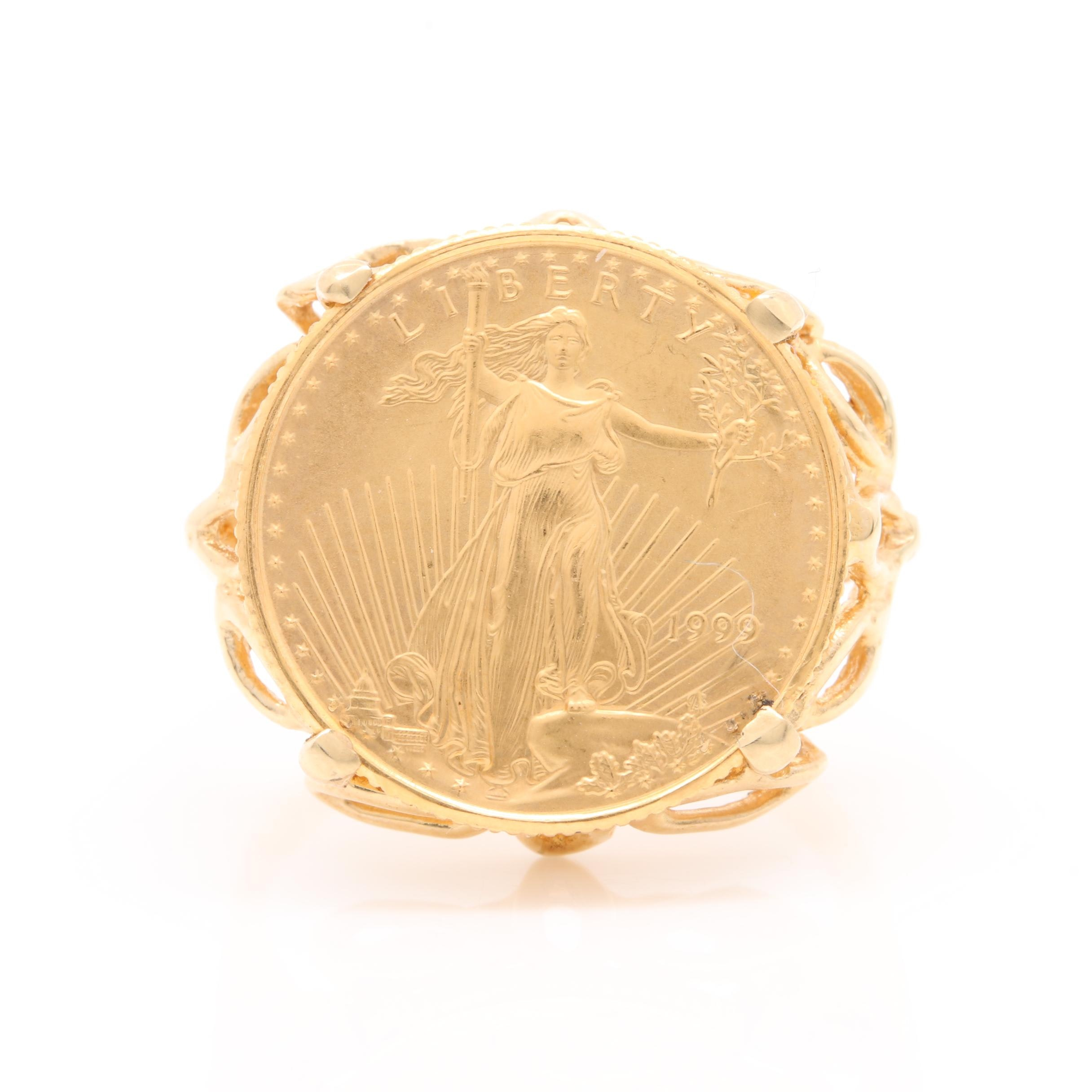 14K Yellow Gold Ring with 1999 $5 $5 American Eagle Gold Bullion Coin