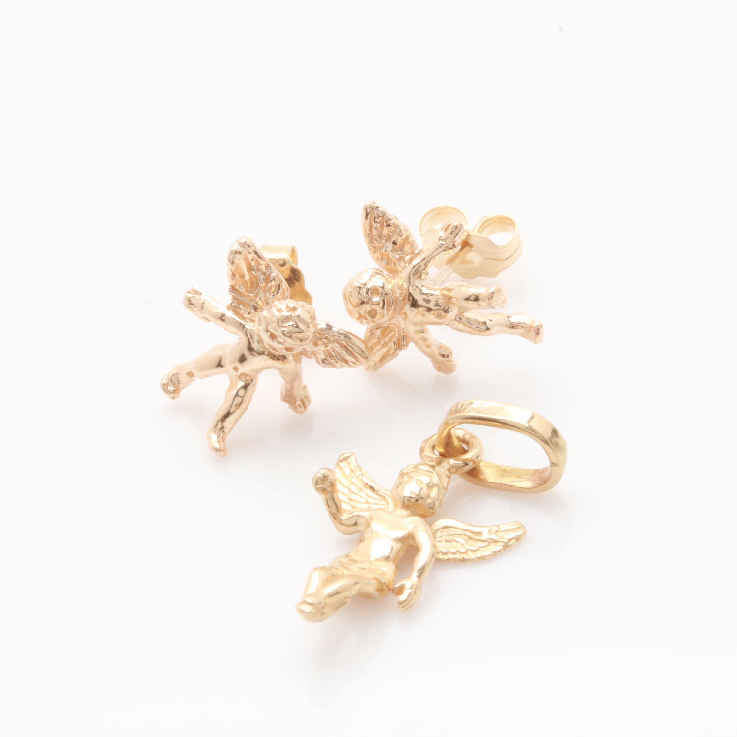 14K Yellow Gold Cupid Pendant and Stud Earrings
