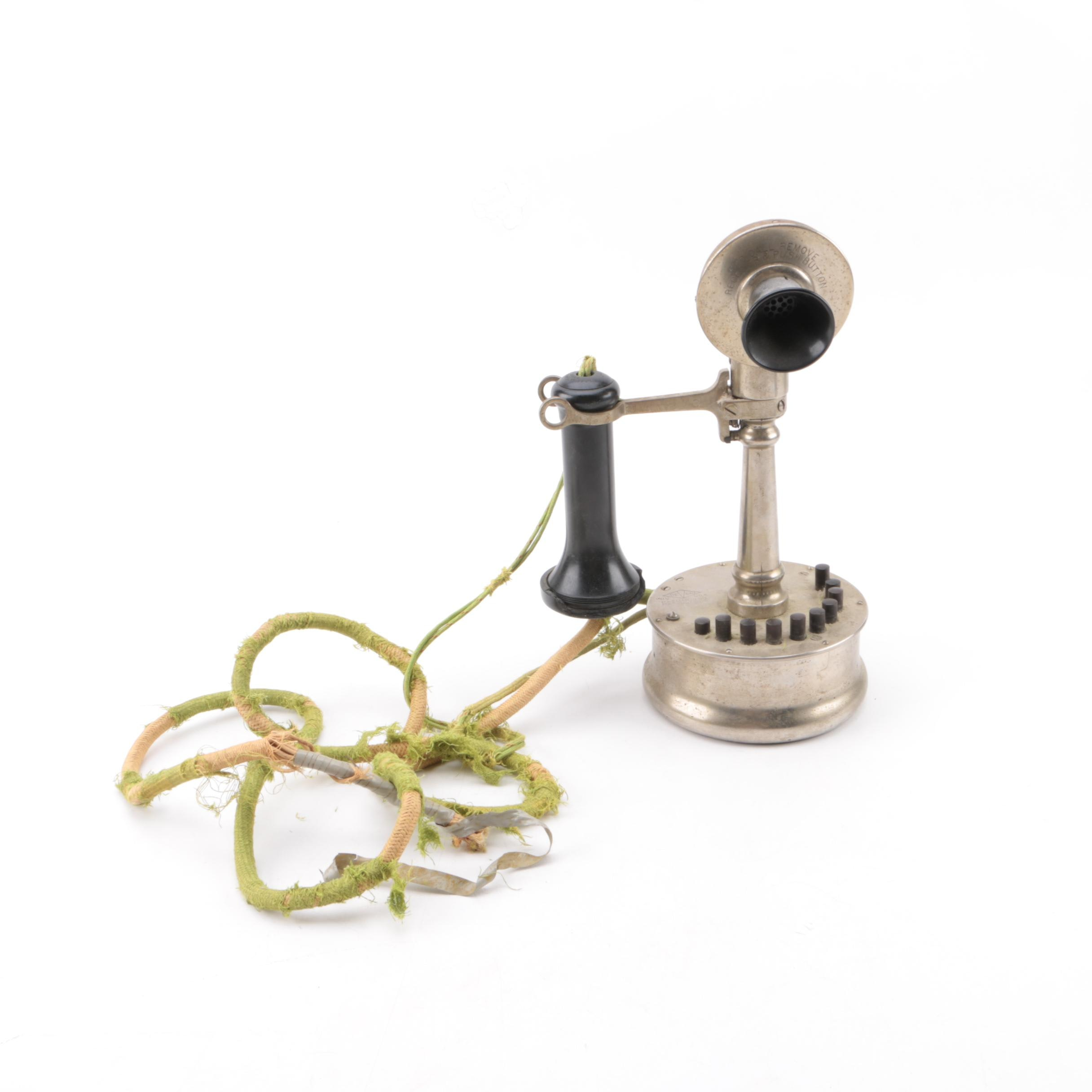 Early 20th Century Deveau Candlestick Push Button Telephone