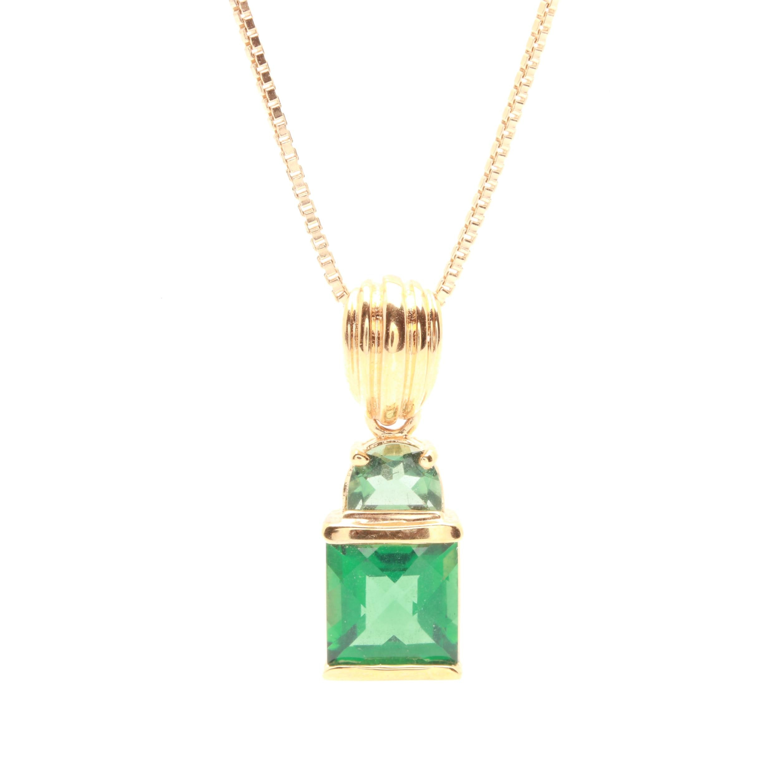 Gold Wash on Sterling Silver Synthetic Quartz and Praseolite Pendant Necklace