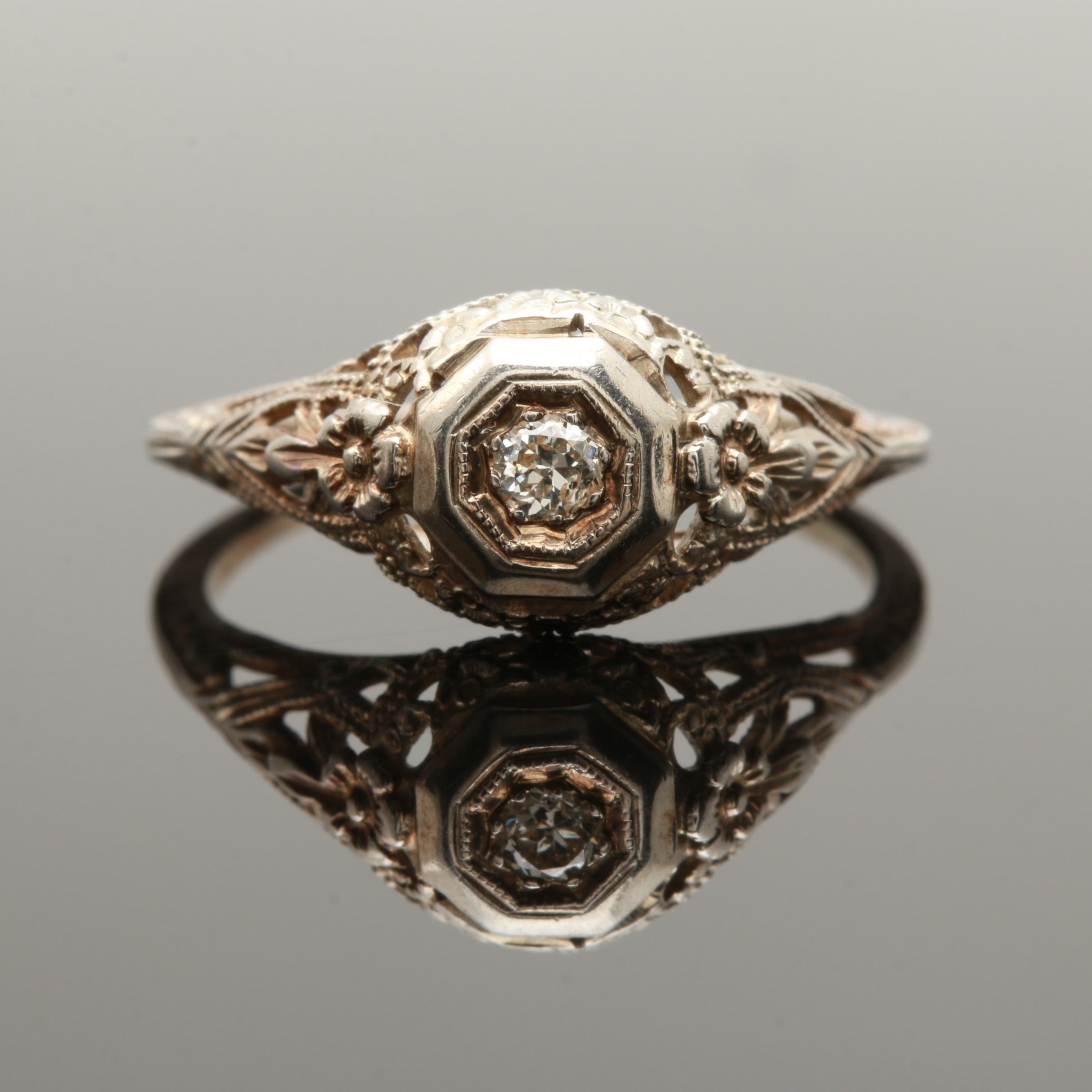 Edwardian 18K White Gold Diamond Ring