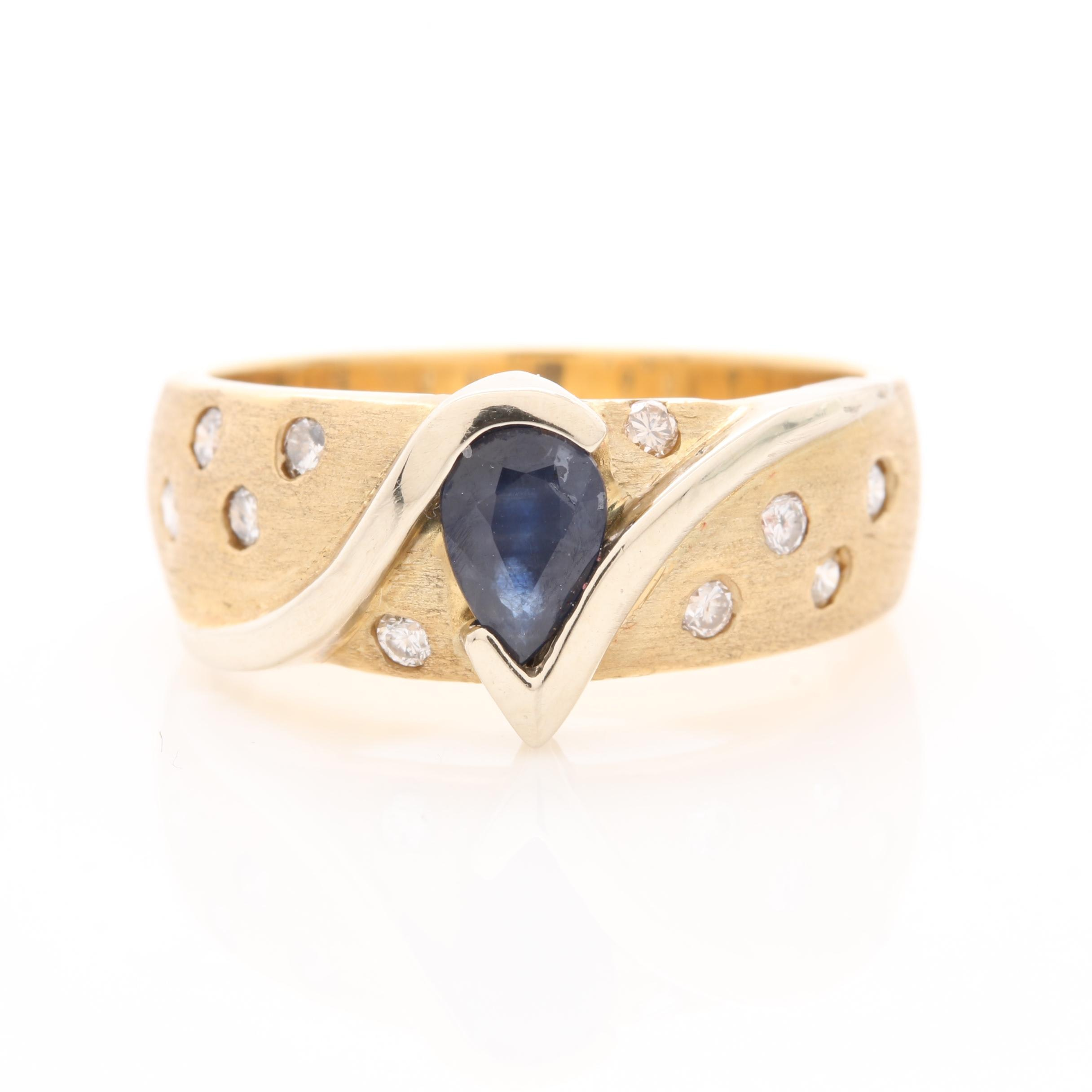 14K Yellow Gold Blue Sapphire and Diamond Ring with White Gold Accents