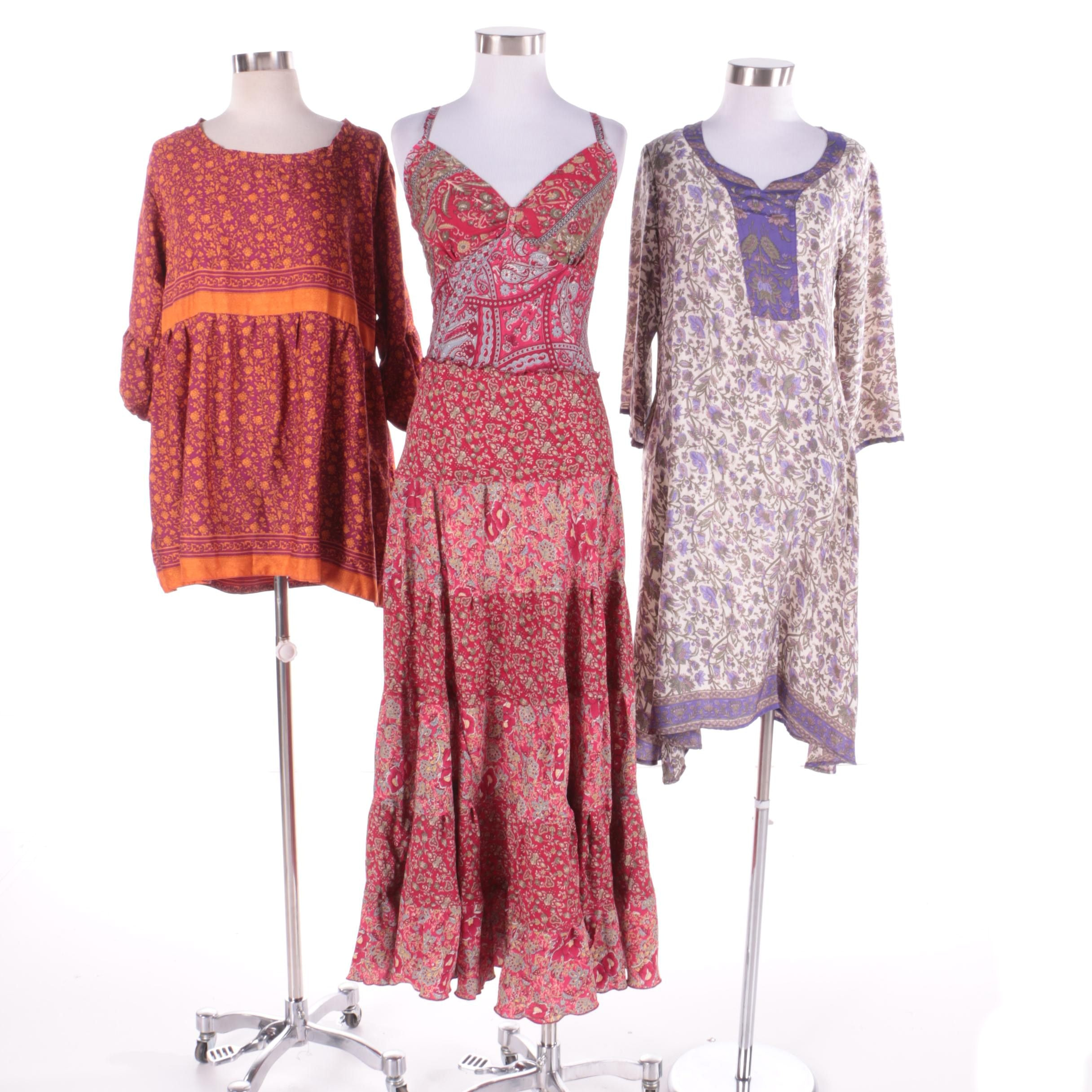 Aller Simplement Floral Dresses and Tunic Made From Upcycled Vintage Saris