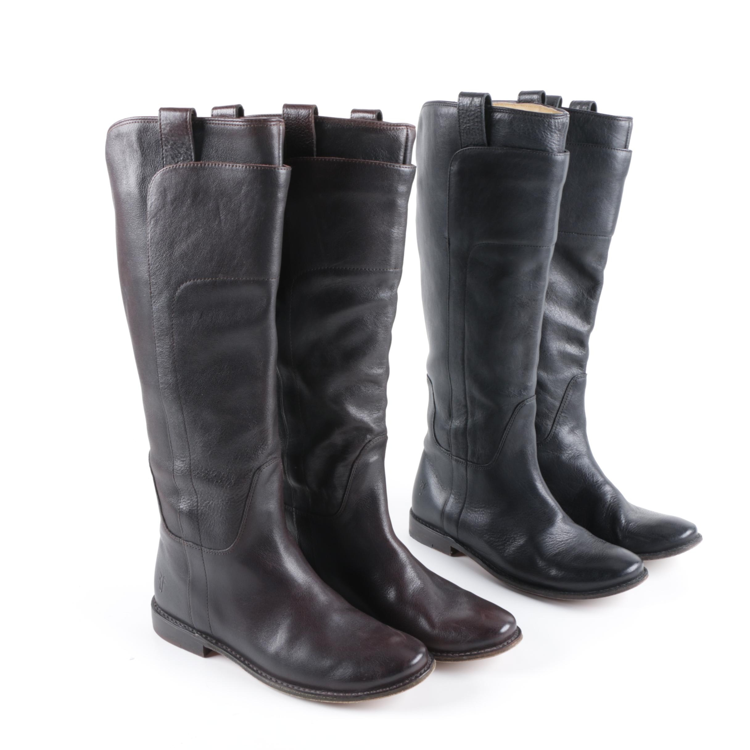 Women's Frye Paige Leather Riding Boots in Dark Brown and Black Leather