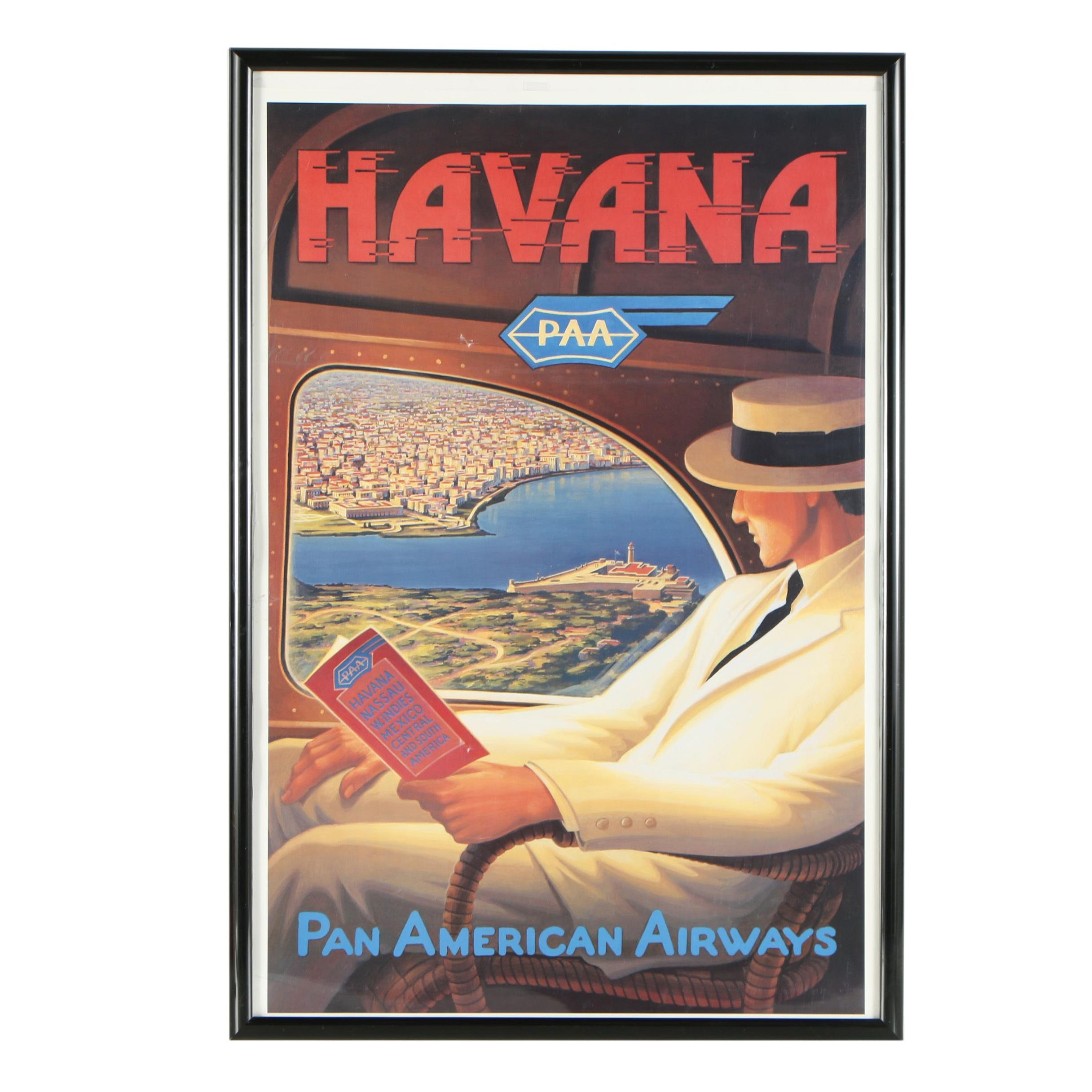 Reproduction Havana Travel Poster For Pan American Airways