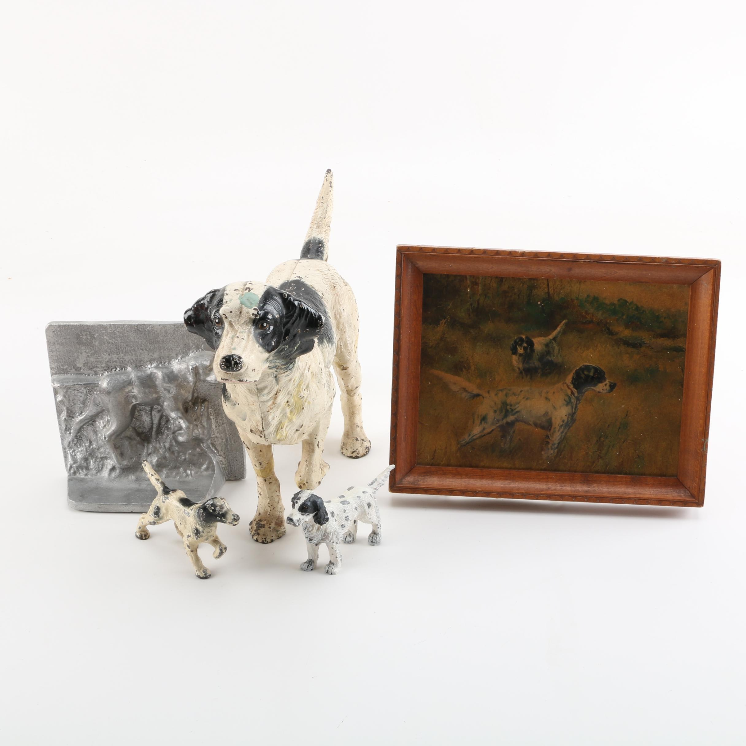 Vintage Cast Iron English Setter Door Stop, Figurines, Bookend, and Wall Art