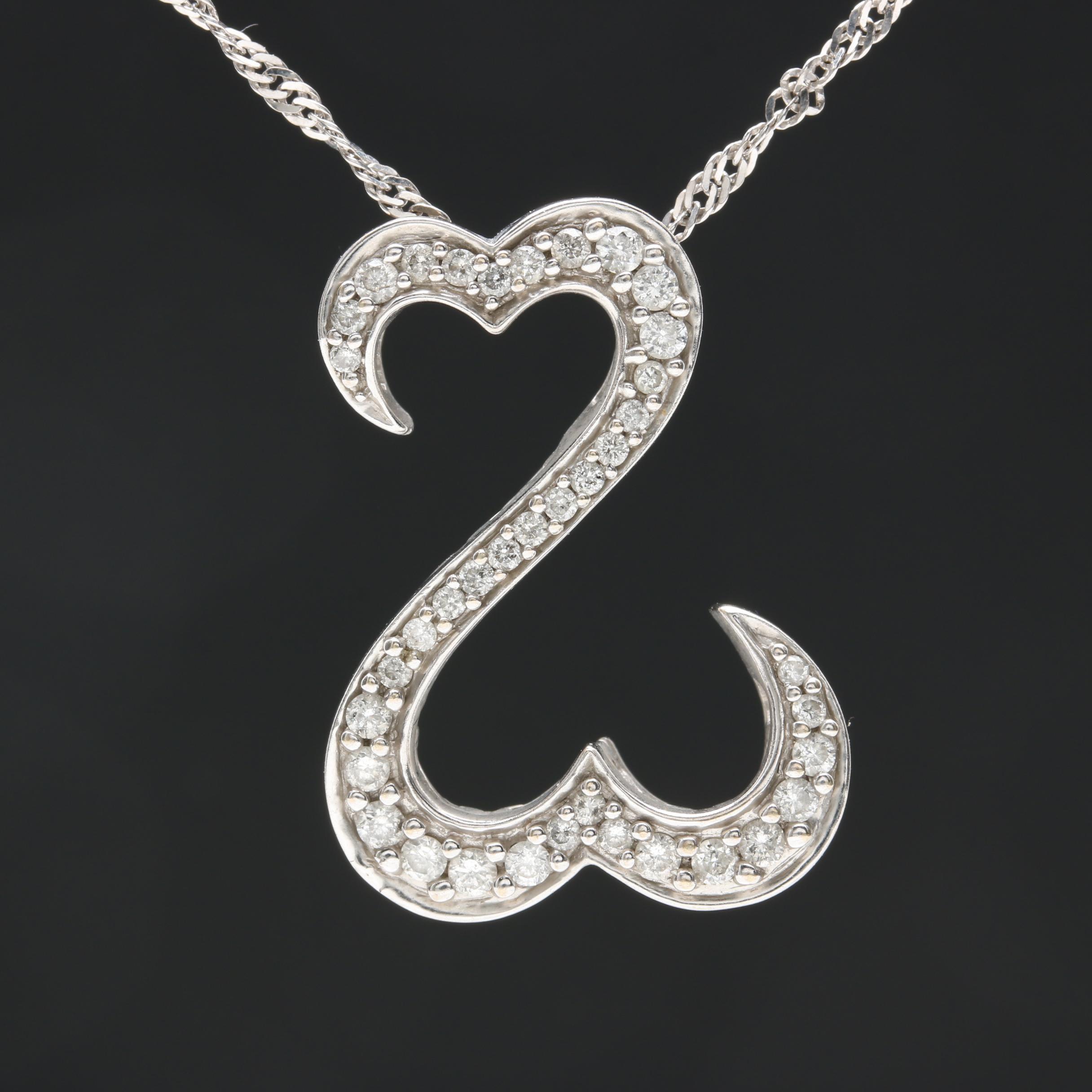 Jane Seymour Open Heart Collection 14K White Gold Diamond Pendant Necklace