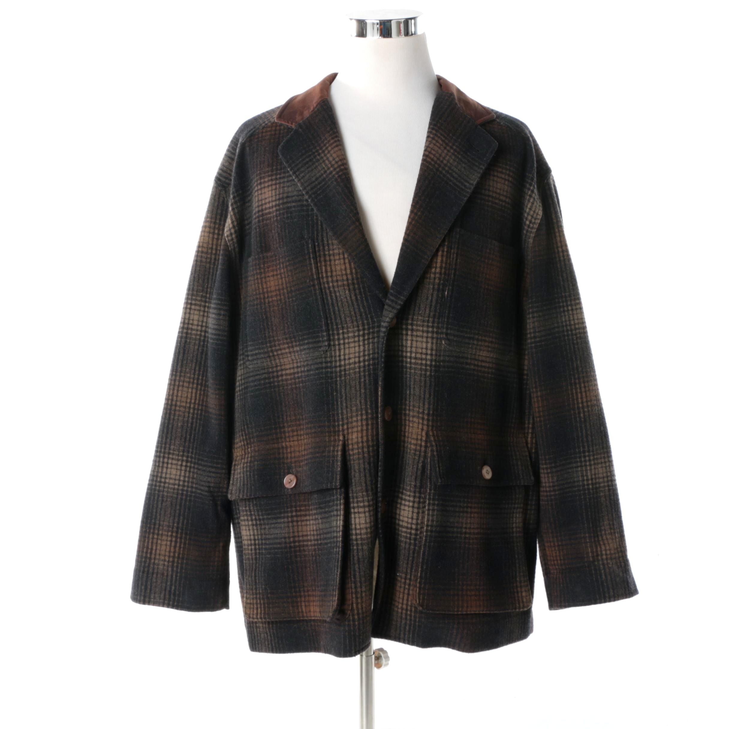 J.O.E. by Joseph Abboud Lambswool Jacket in Brown and Black Plaid