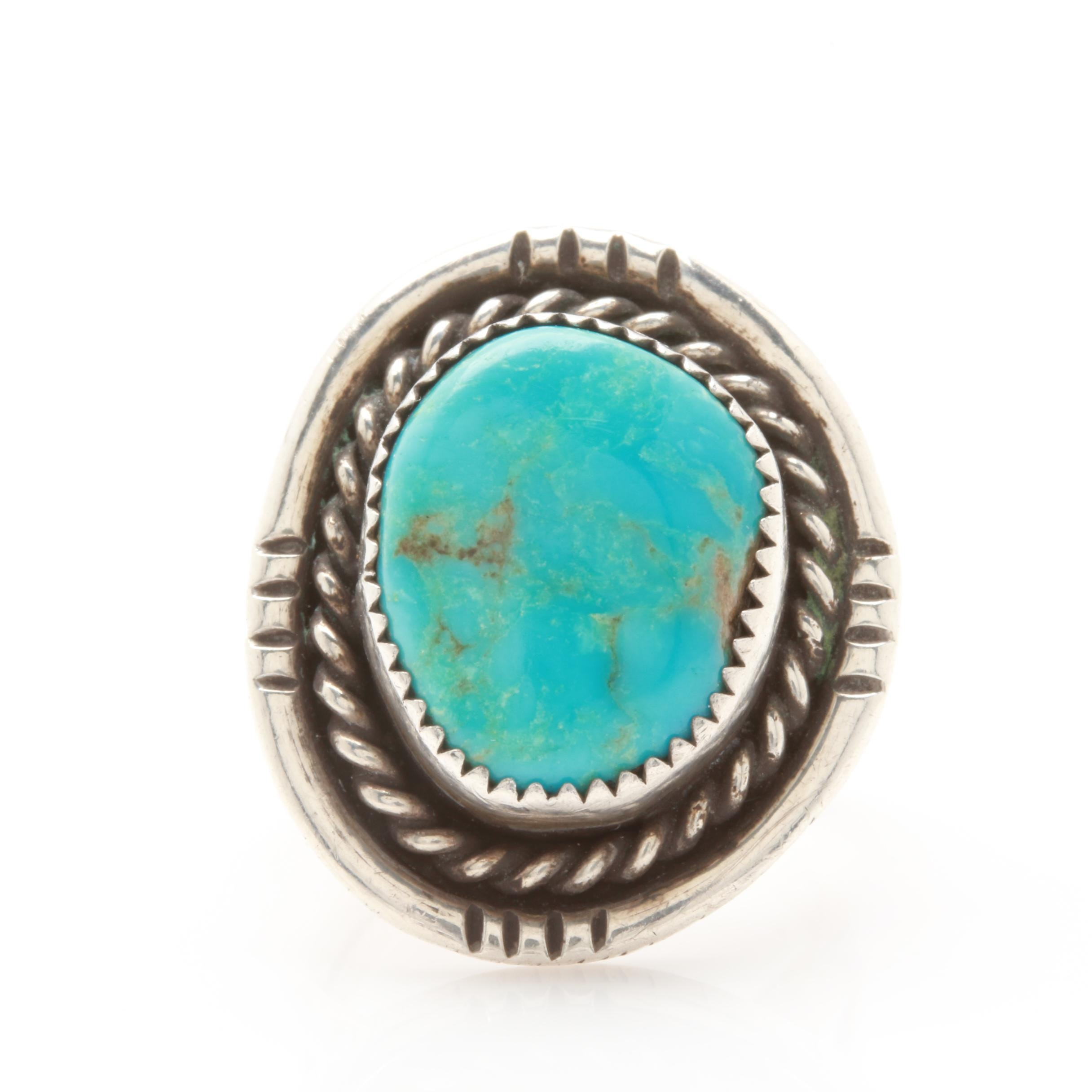 Larry Sandoval Navajo Diné Sterling Silver Turquoise Ring