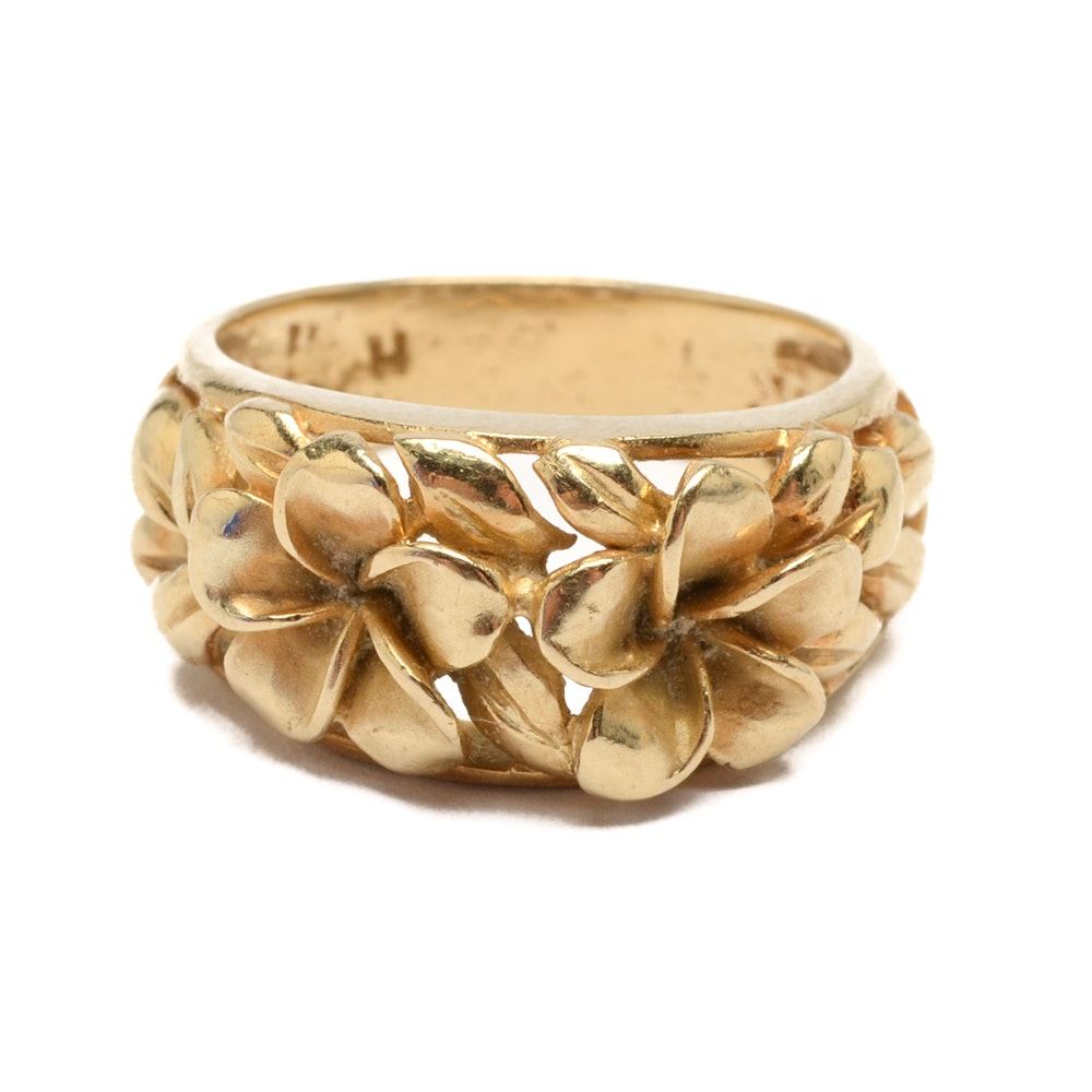 14K Yellow Gold Plumeria Flower Ring
