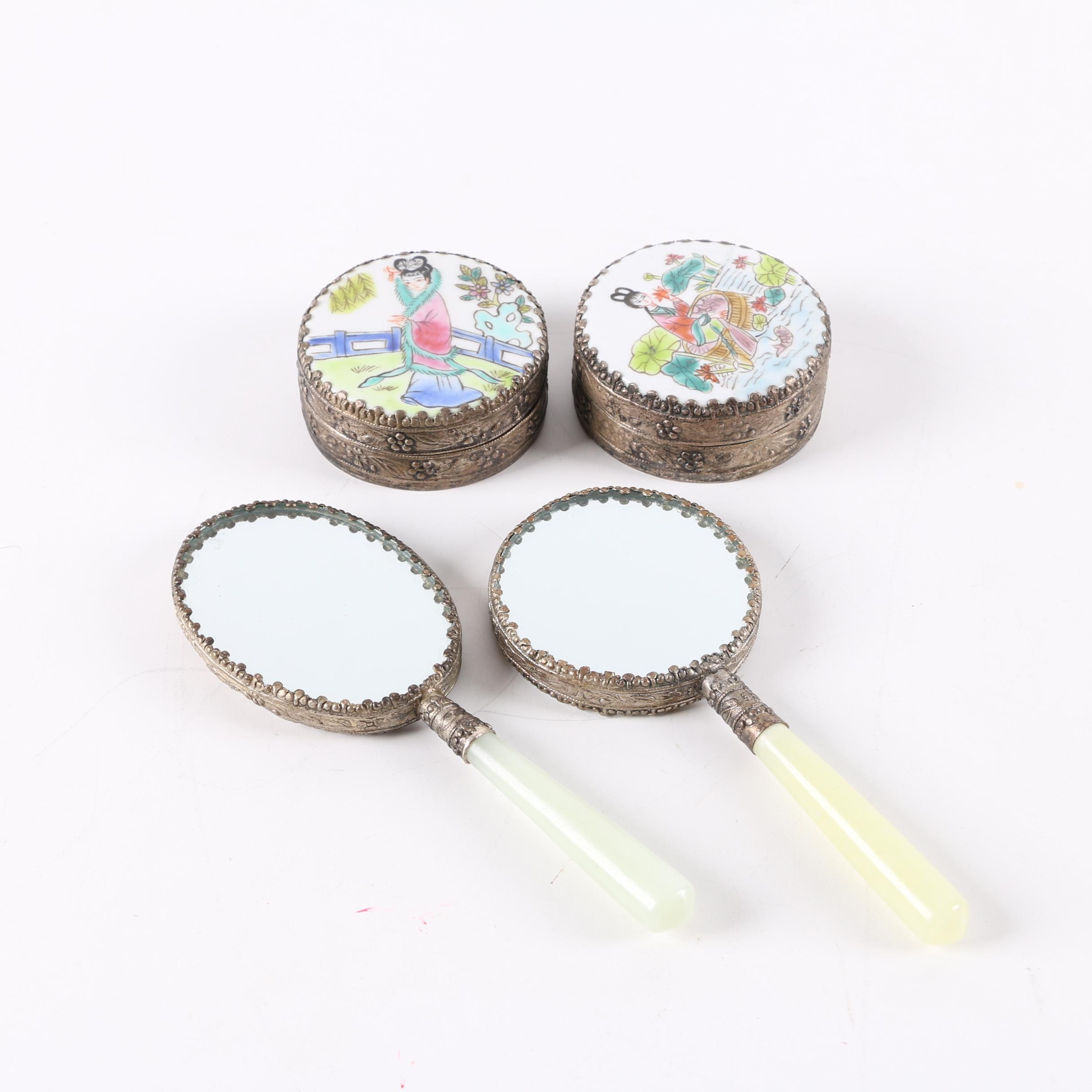 Chinese Serpentine-Handled Hand Mirrors with Metal and Ceramic Trinket Boxes
