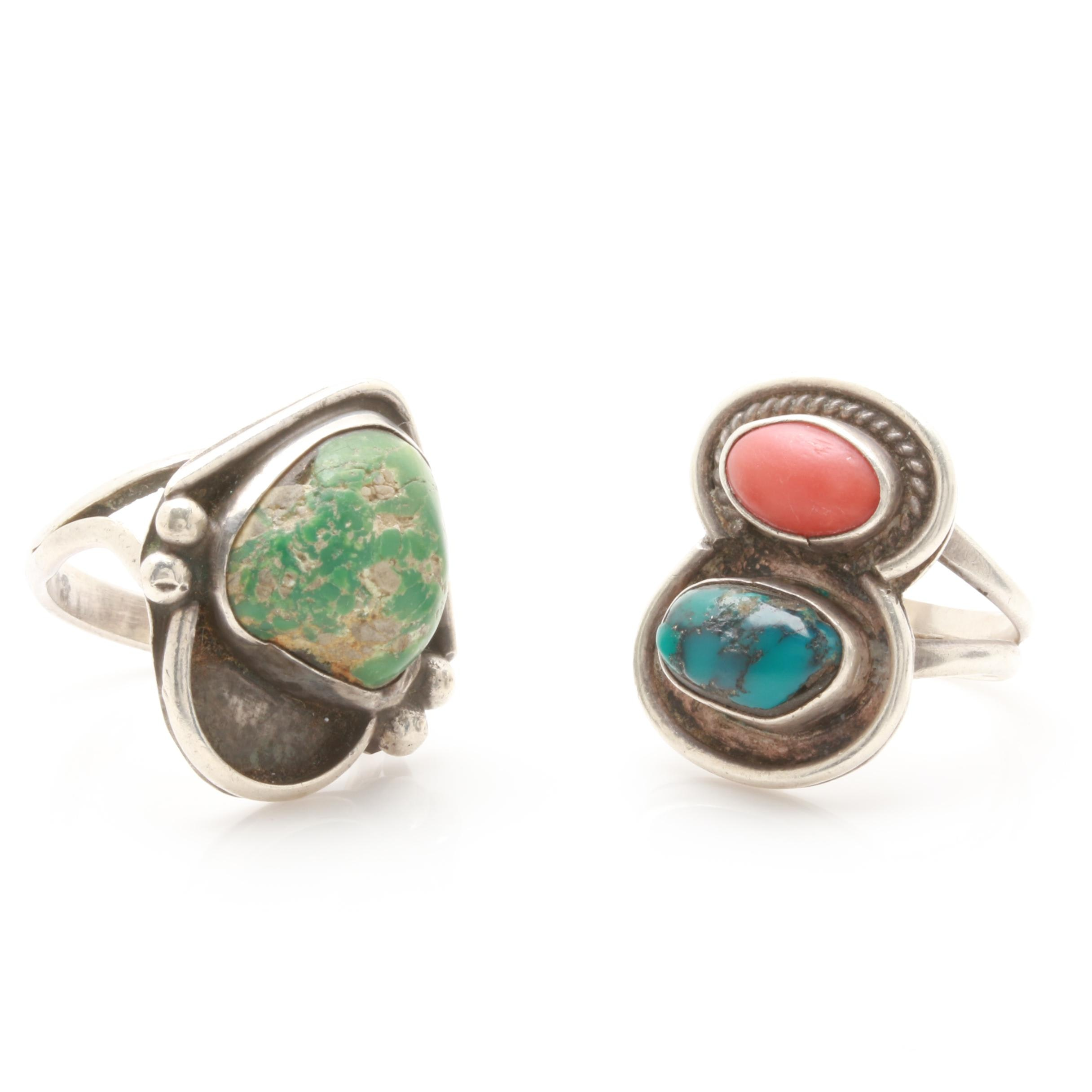 Vintage Southwestern Styled Turquoise and Coral Rings