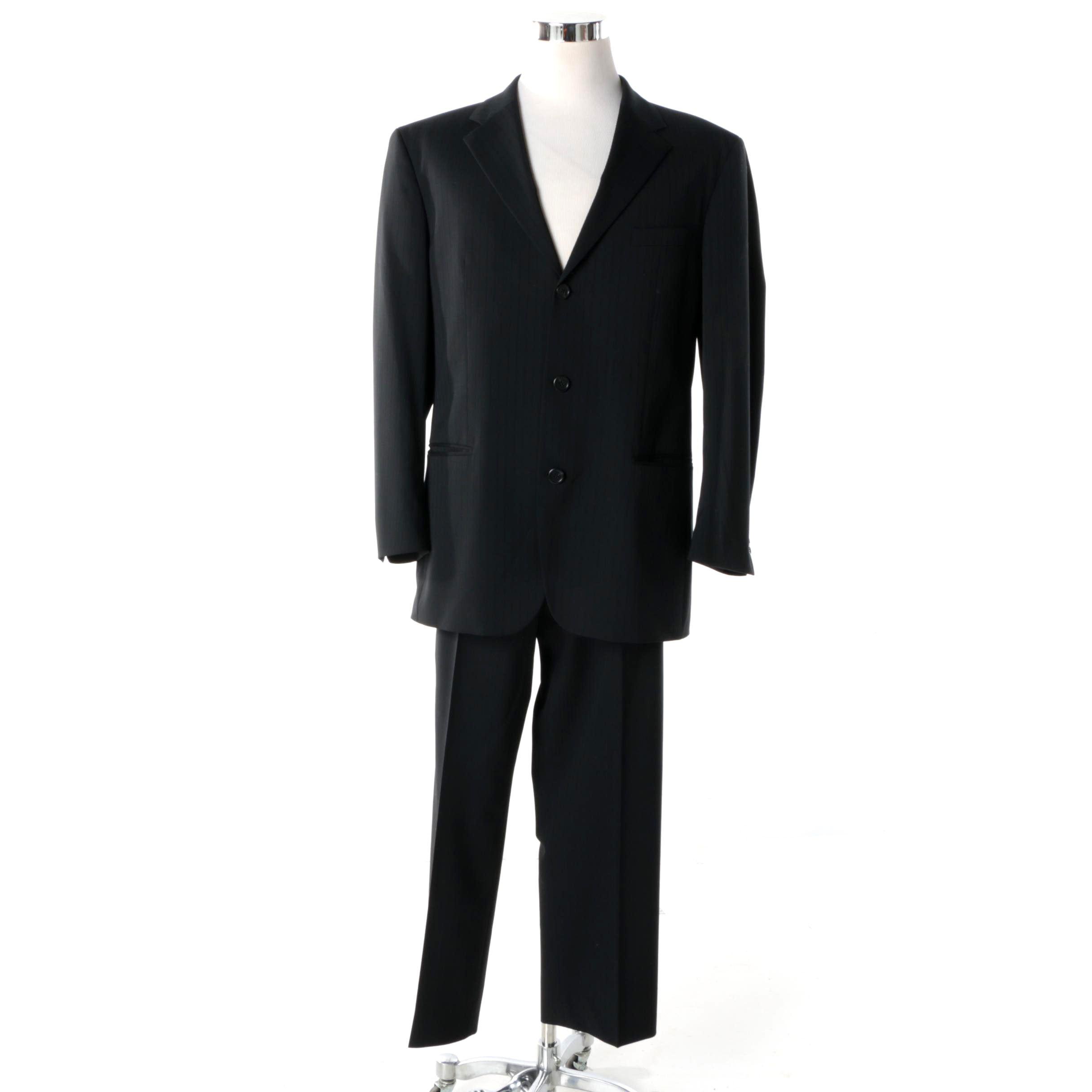Men's HUGO Hugo Boss Black Pinstripe Wool Blend Suit